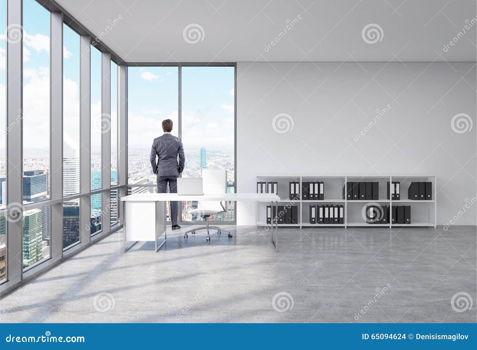 Homme dans un bureau devant la fen tre illustration stock for Devant la fenetre