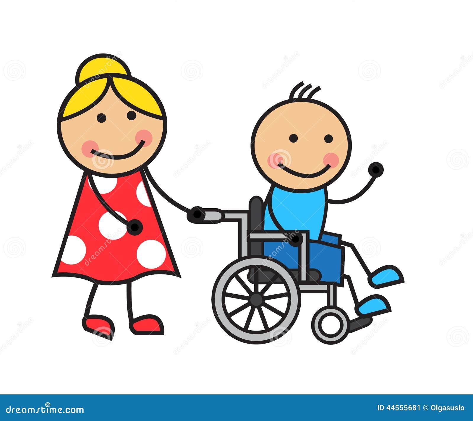 Homme de bande dessinée sur un fauteuil roulant
