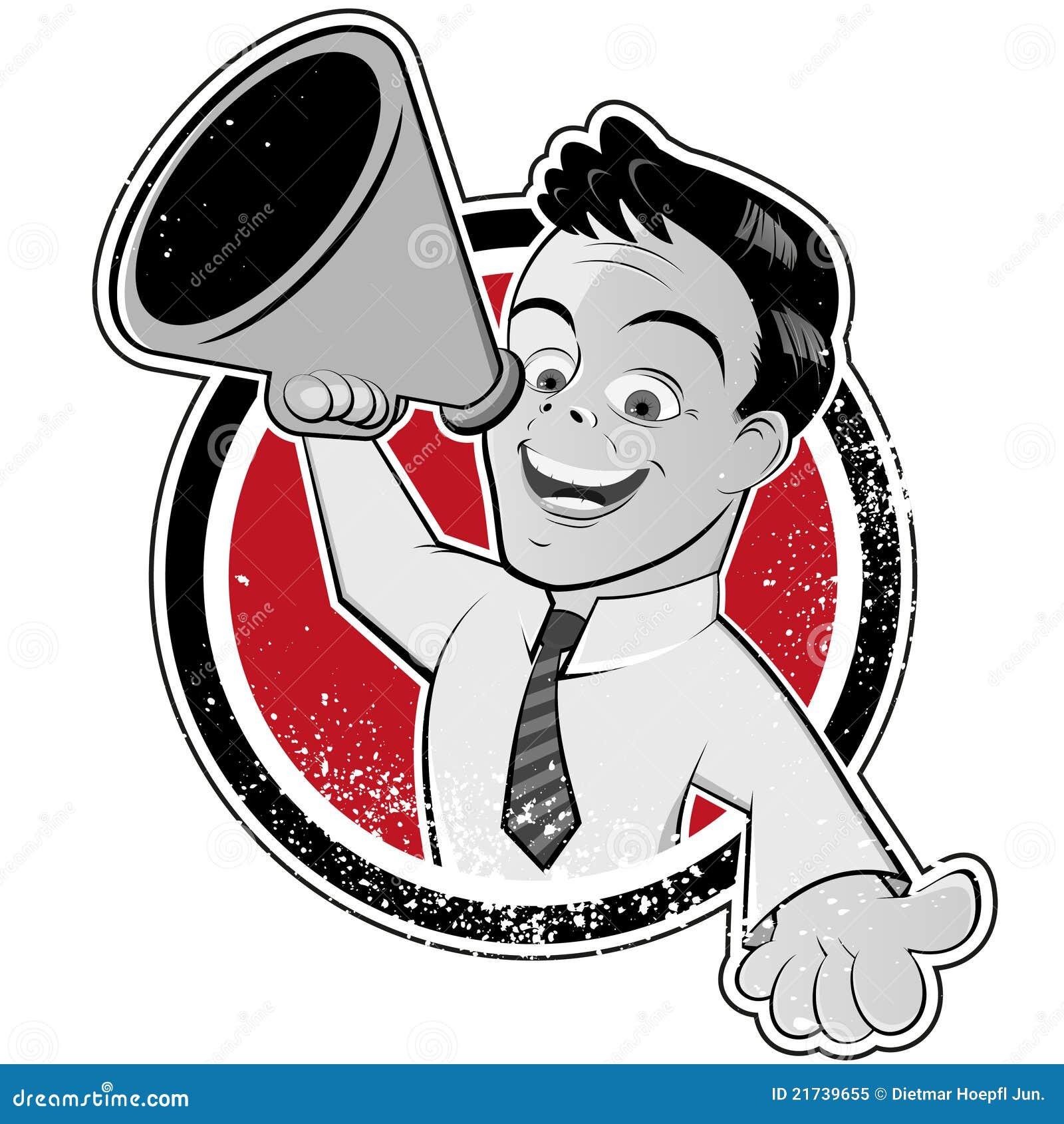 Homme de dessin animé avec le mégaphone