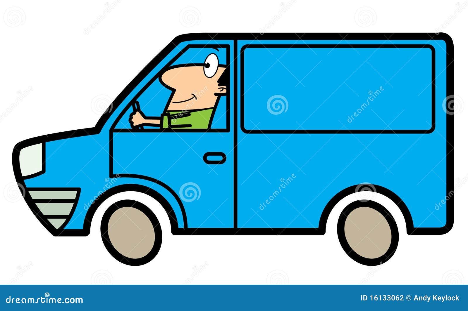 Homme De Dessin Animé Conduisant Un Camion Illustration De