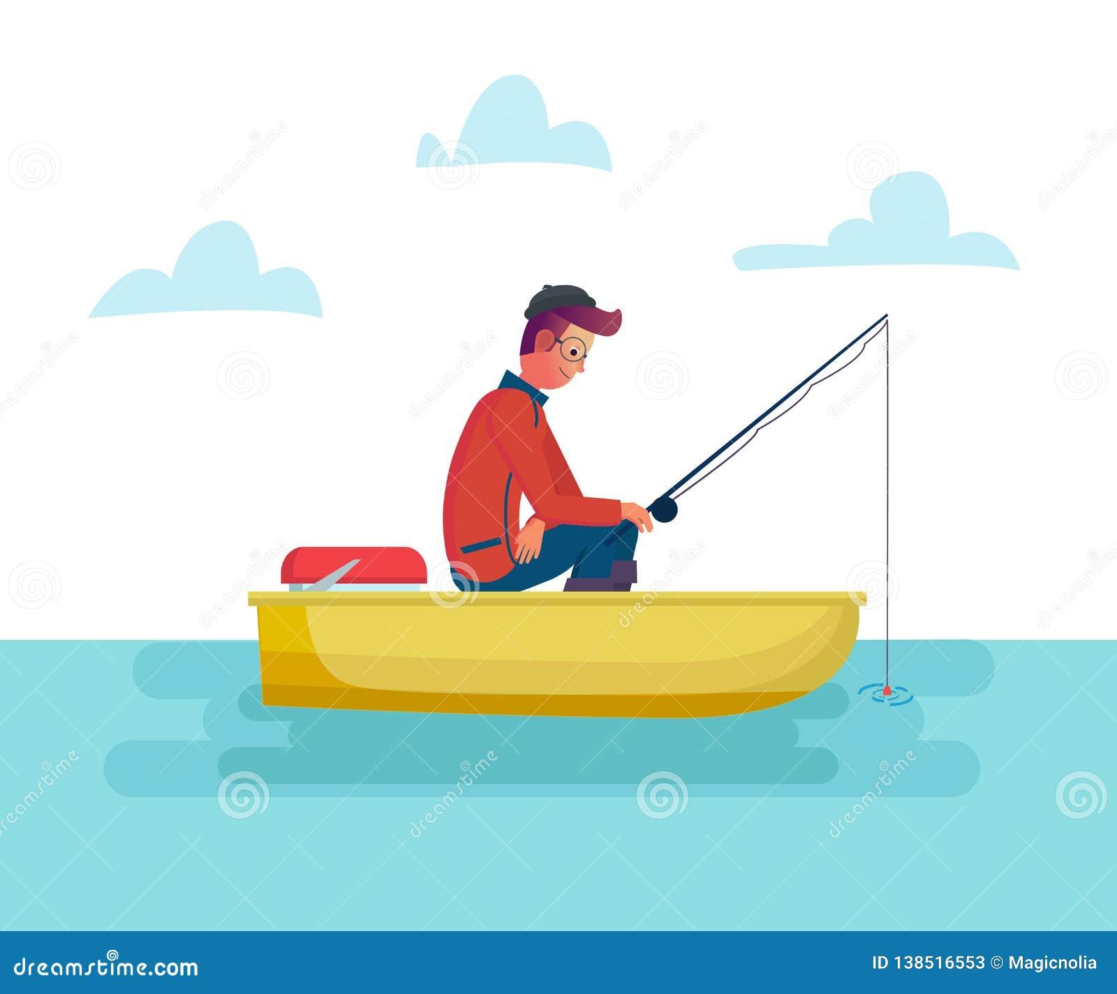 Homme de Fisher tenant la canne à pêche dans le bateau sur le lac ou la mer, pêche de saison Illustration masculine de bande dess