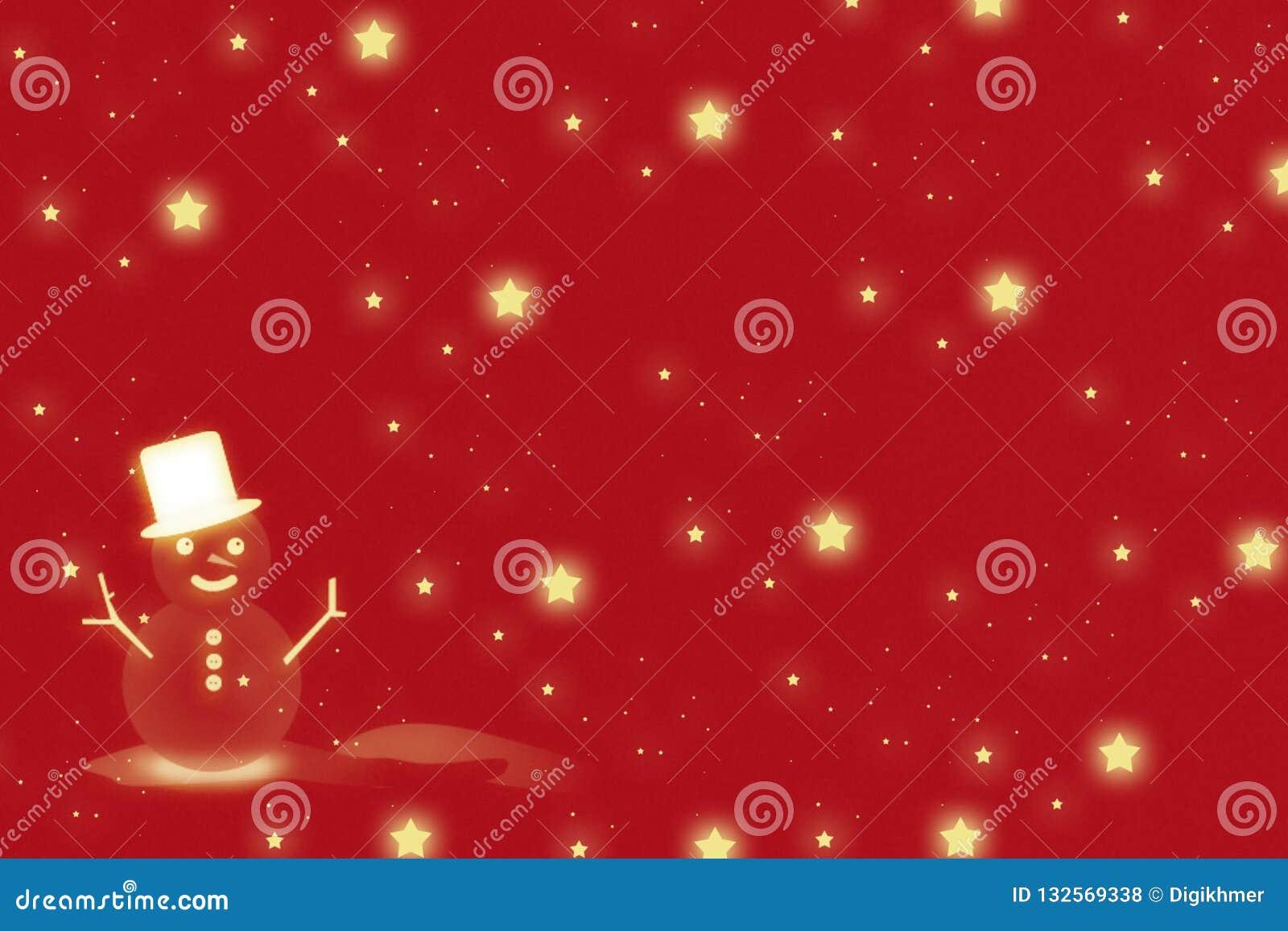 Homme de neige et fond rouge de Noël