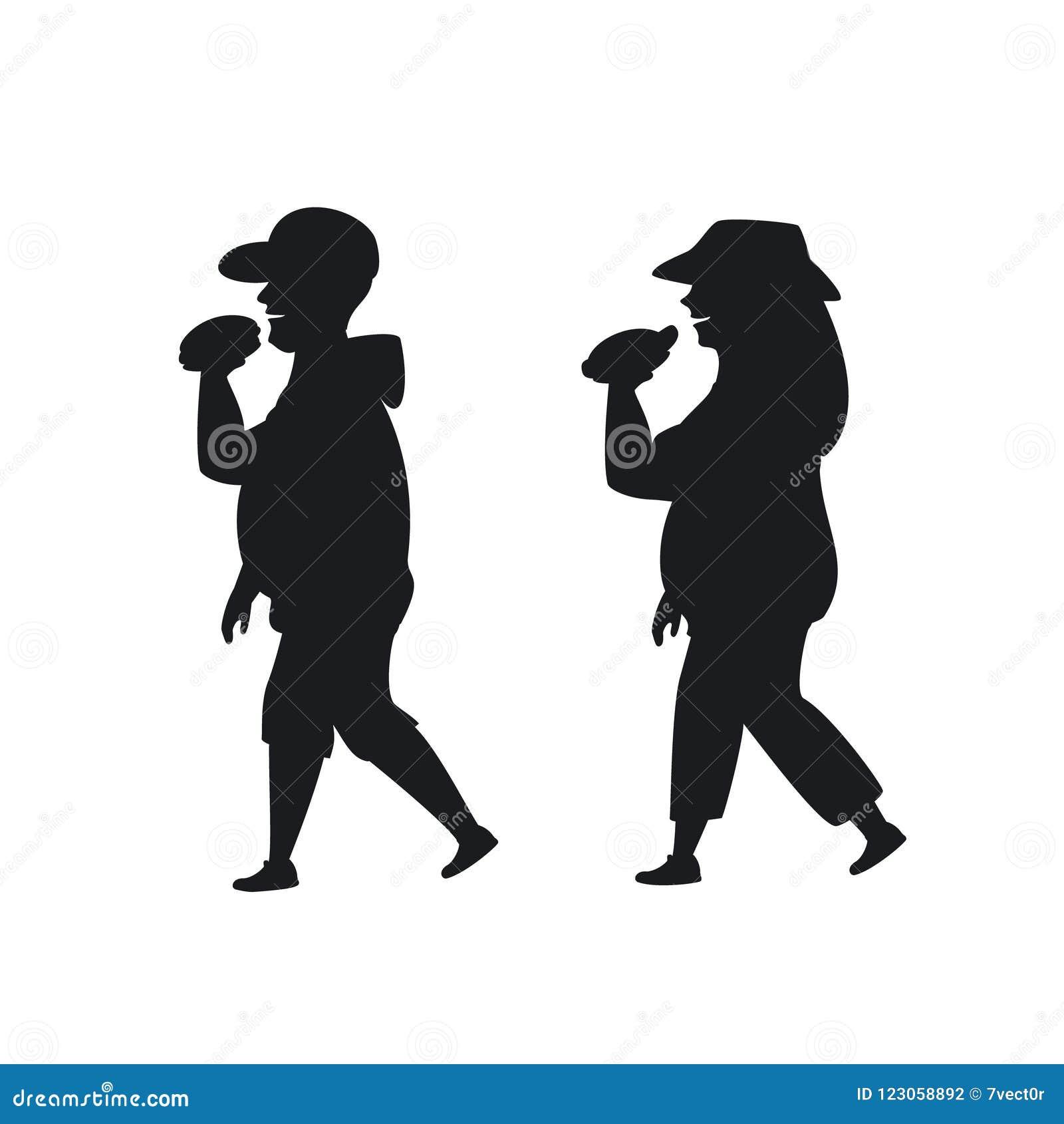 Homme de poids excessif et femme marchant mangeant des aliments de préparation rapide sur la silhouette de manière