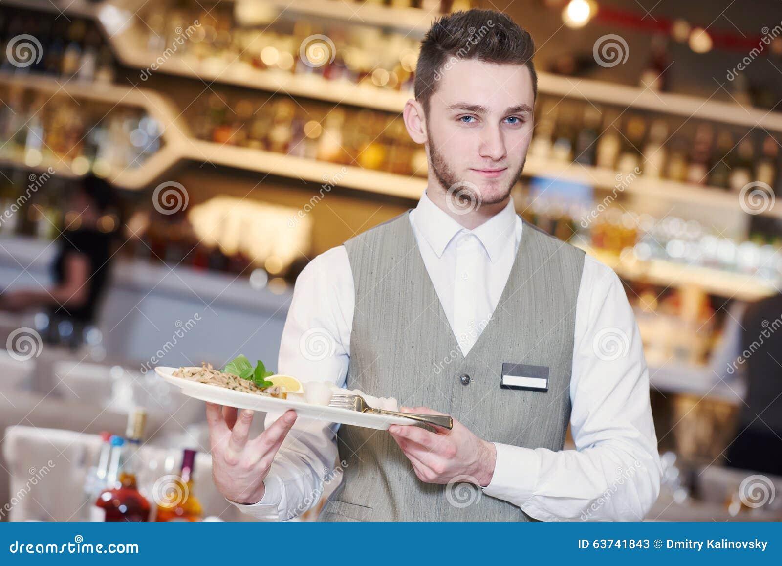 Homme de serveur dans le restaurant image stock image du for Job serveur