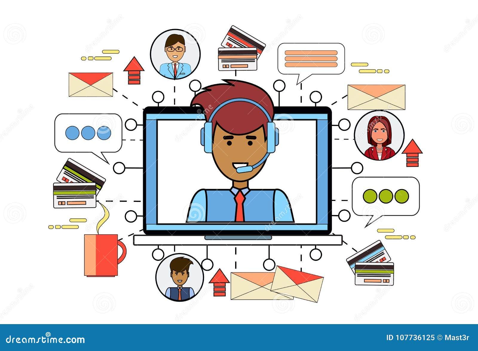 L homme de service de support technique dans les éléments de bureau  d affaires de lieu de travail d ordinateur d écouteurs sur le fond  amincissent la ligne ... 7cf972e3fc53
