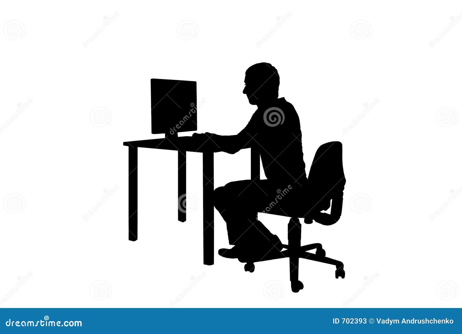 Homme De Silhouette Au Travail Photos Stock Image 702393