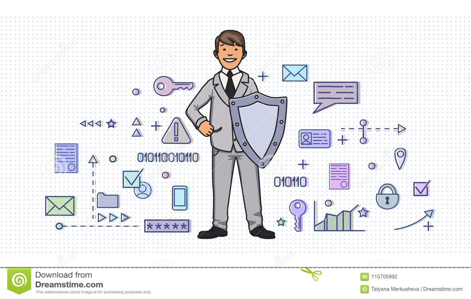 Homme de sourire dans le costume avec un bouclier parmi des symboles numériques et d Internet de sécurité Protection des données