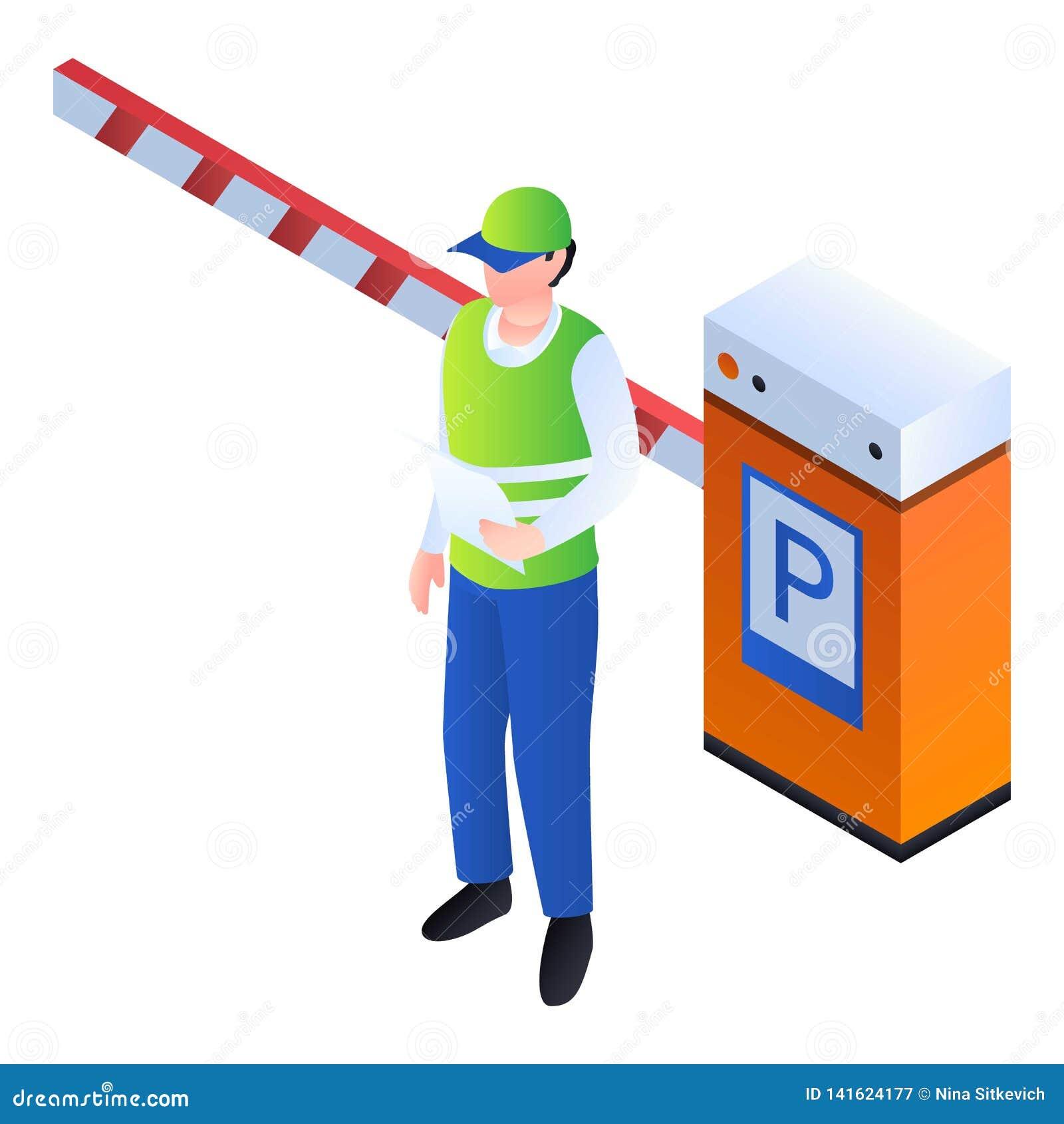Homme de valet à l icône de barrière, style isométrique