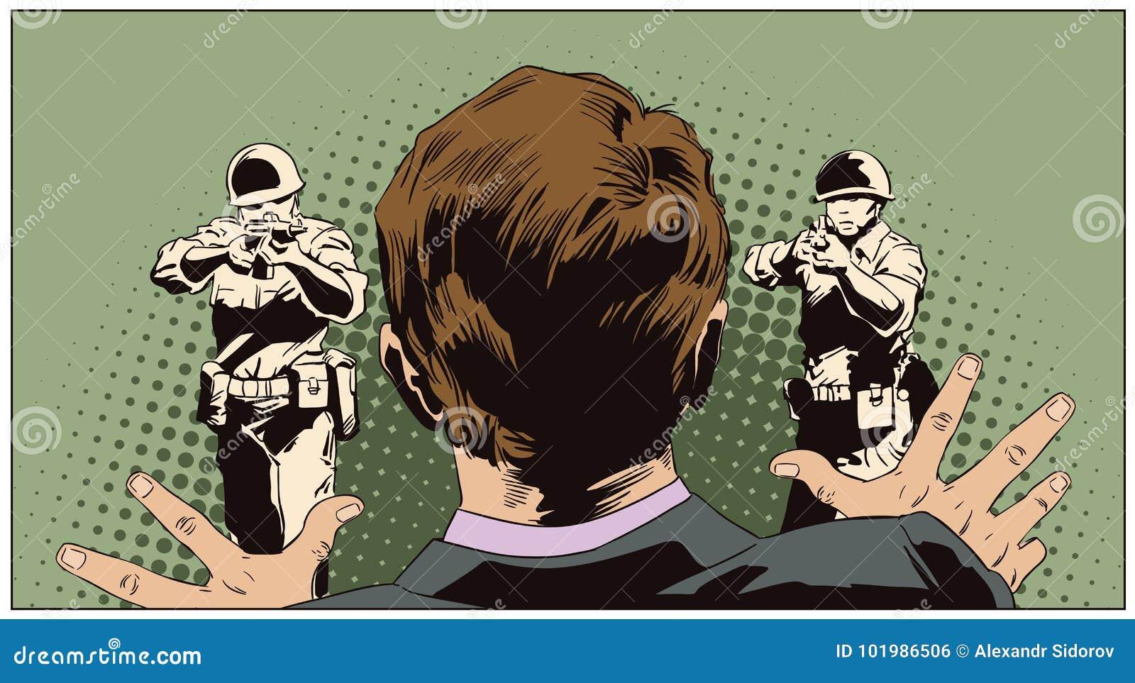 Homme devant des personnes avec des armes exécution Illustrati courant