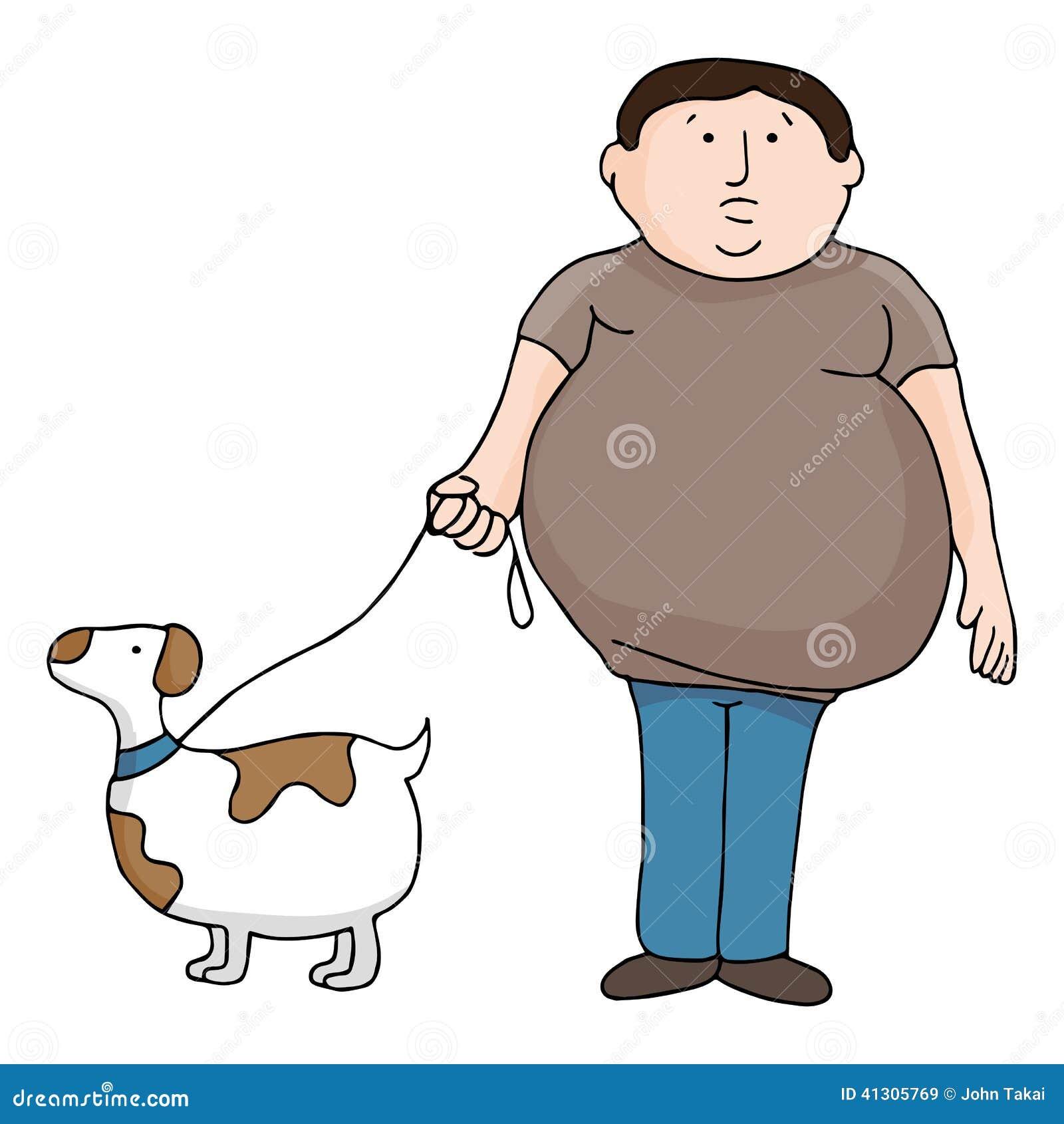 Homme et chien de poids excessif