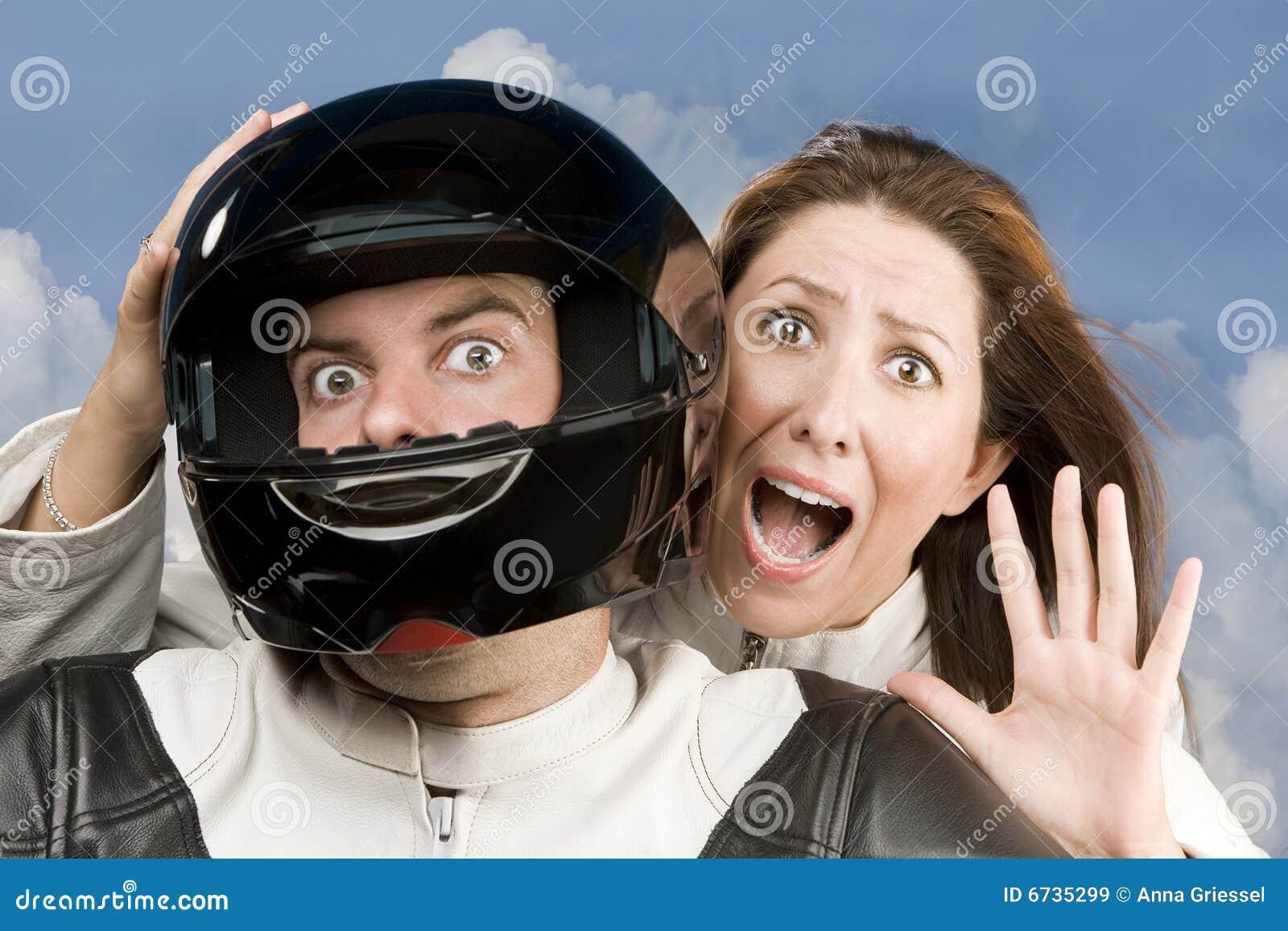 homme et femme craintive sur une moto image stock image du nuage sport 6735299. Black Bedroom Furniture Sets. Home Design Ideas
