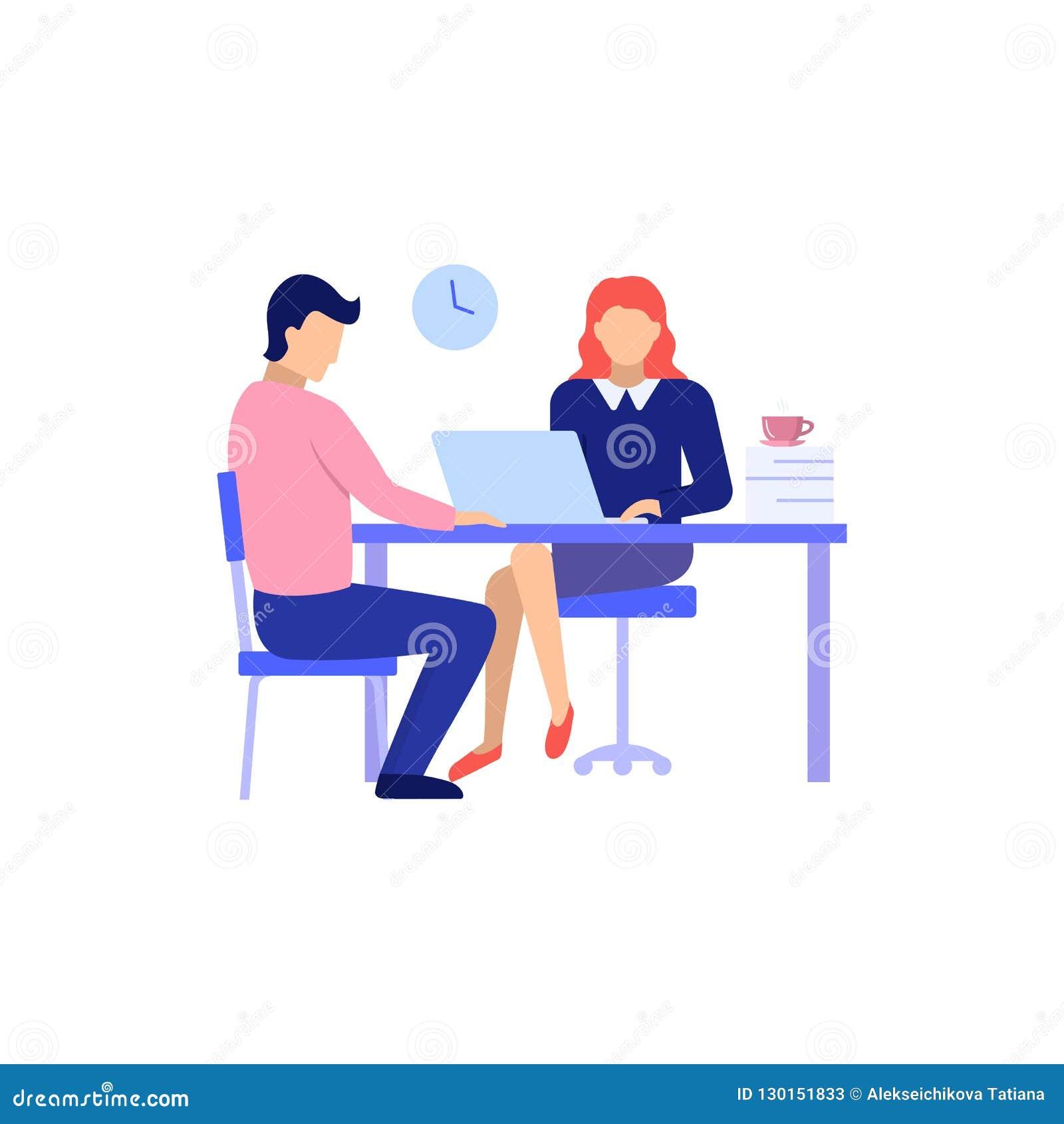 Homme et femme sur l illustration de vecteur de conversation d entrevue