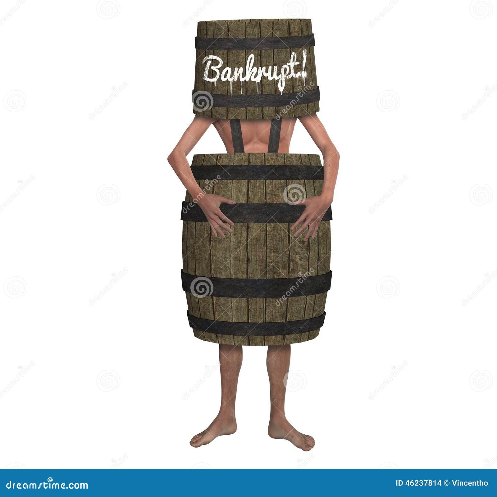 Homme faillite de faillite portant une illustration de baril