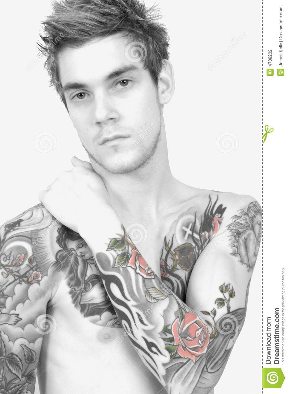 Homme grand de tatouage photo stock image du main lifestyle 4738202 - Tatouage rose main homme ...