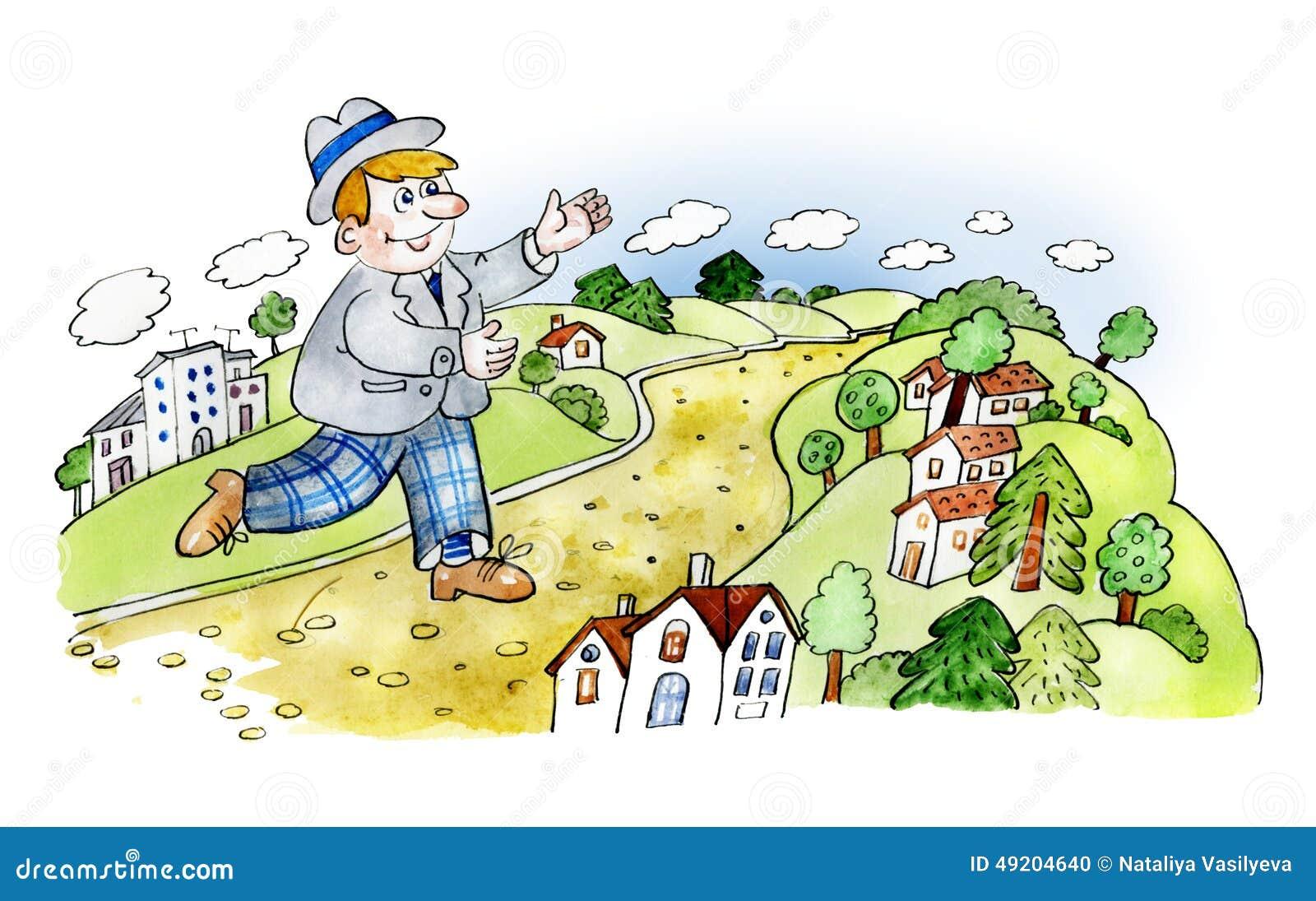 Homme heureux marchant dans la campagne