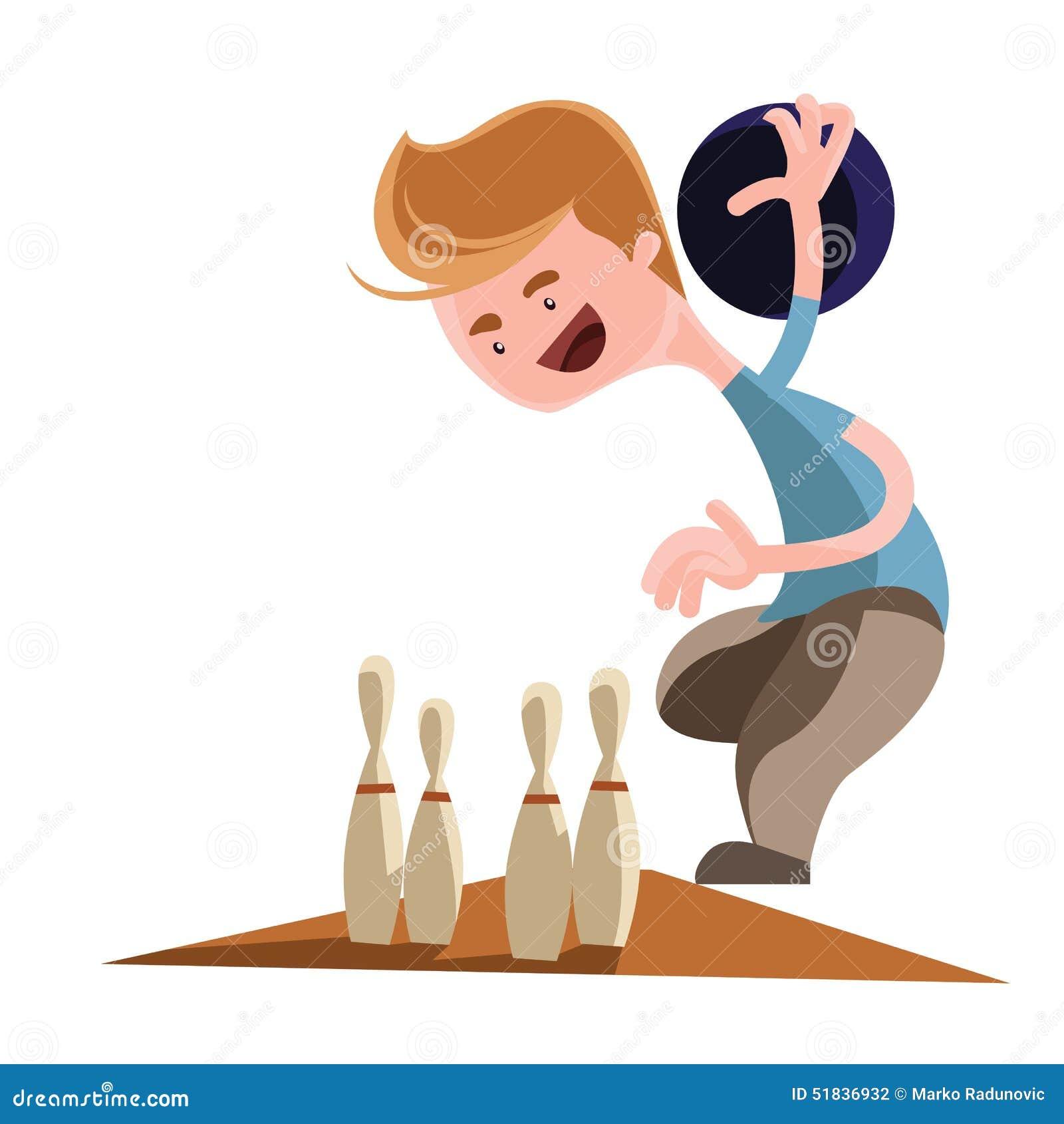 Homme jouant le personnage de dessin anim d 39 illustration de bowling illustration stock image - Bowling dessin ...