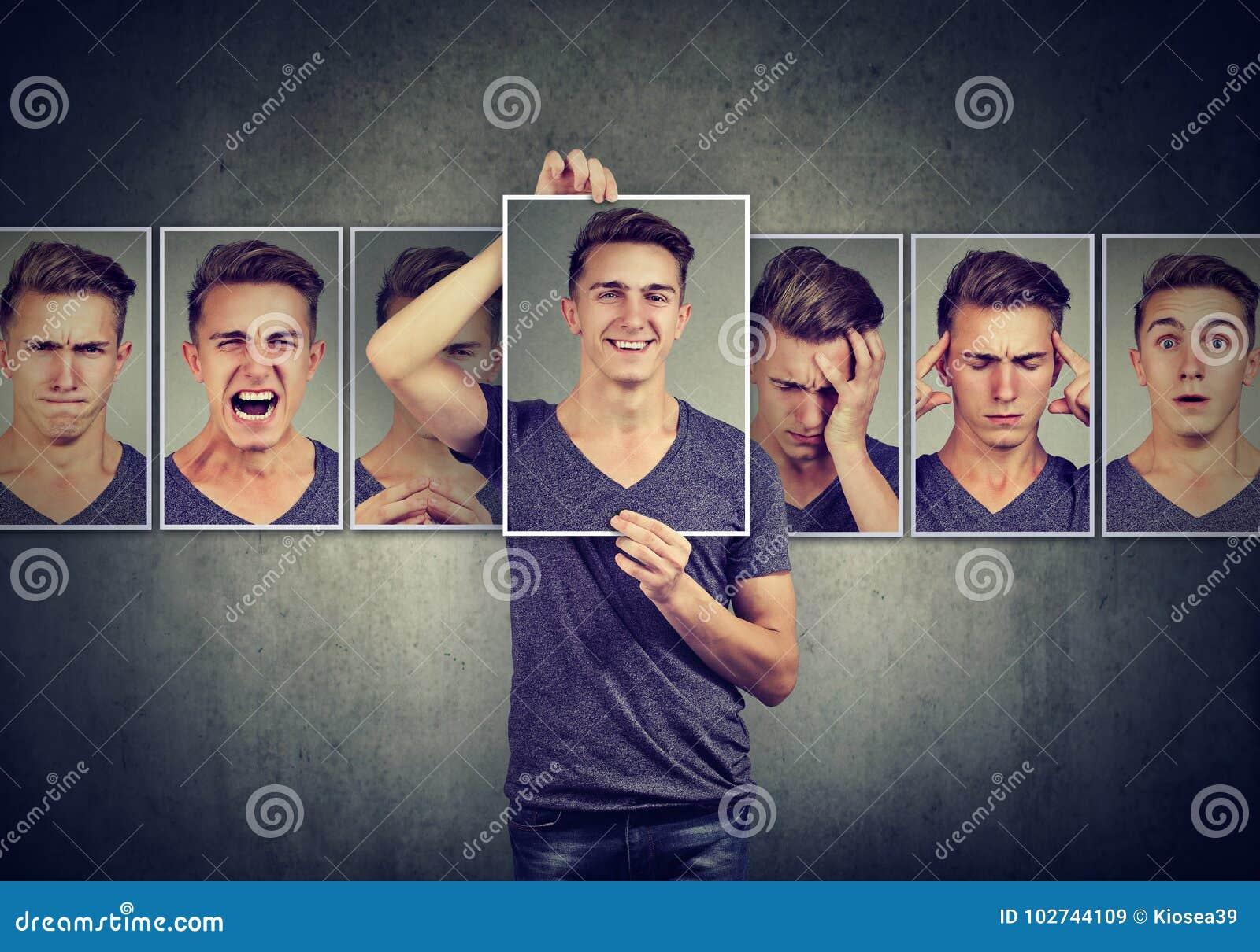 Homme masqué exprimant différentes émotions