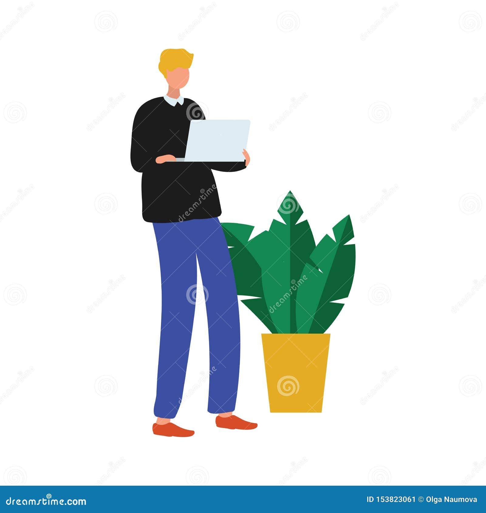 Homme mignon d employé de bureau avec l ordinateur portable moderne près de la plante d intérieur