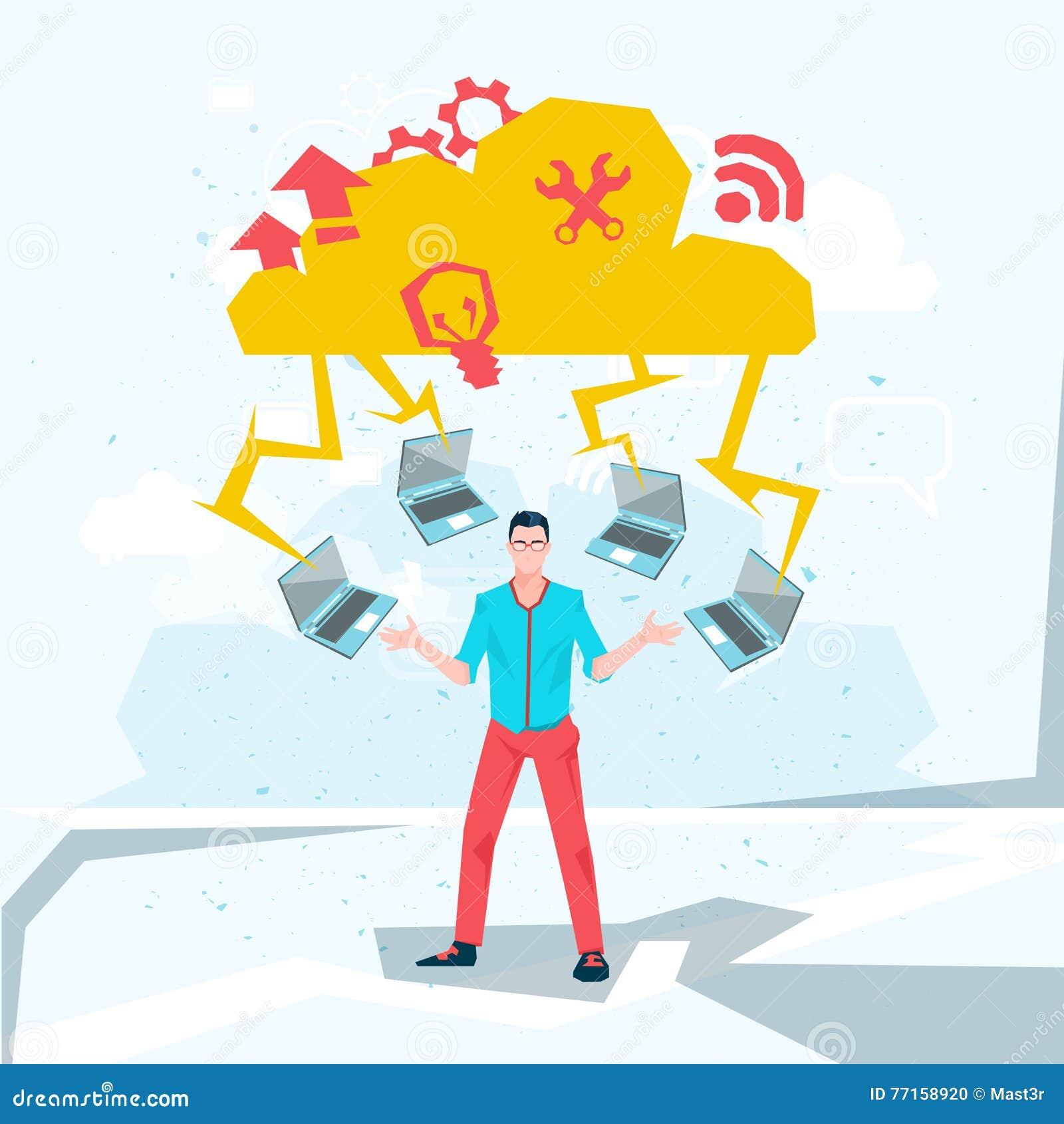 Homme occasionnel d affaires avec la technologie de base de données de nuage d ordinateurs portables