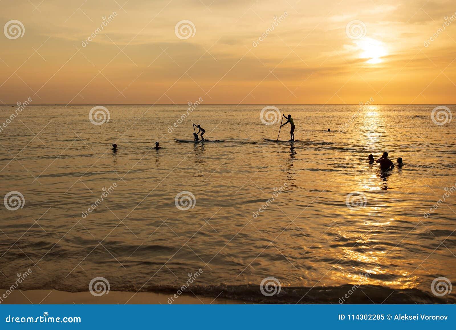 Homme paddleboarding au coucher du soleil avec le chien