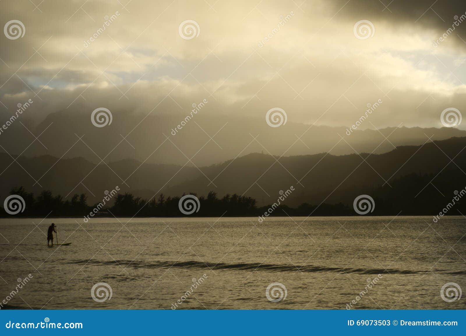 Homme paddleboarding en Hawaï l après-midi flou