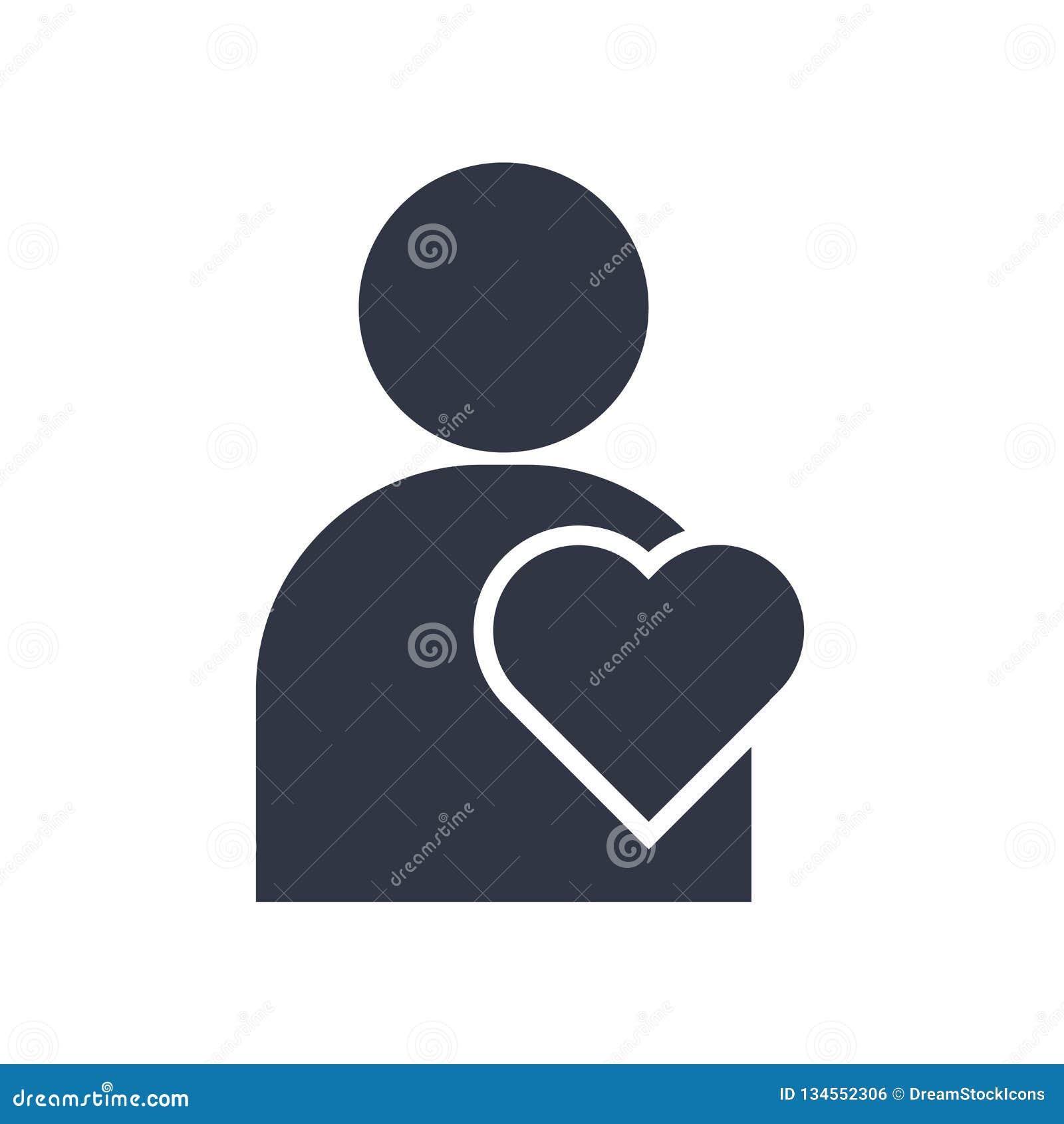 Homme pensant au signe et au symbole de vecteur d icône d amour d isolement sur le fond blanc, homme pensant au concept de logo d