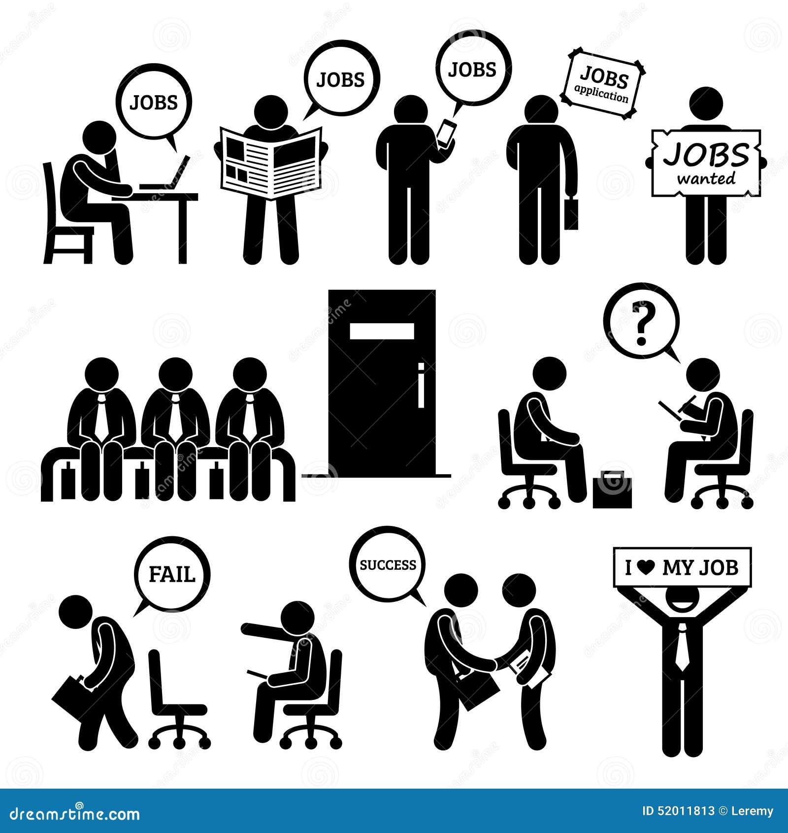 Homme Recherchant Job Employment Et L Entrevue Cliparts