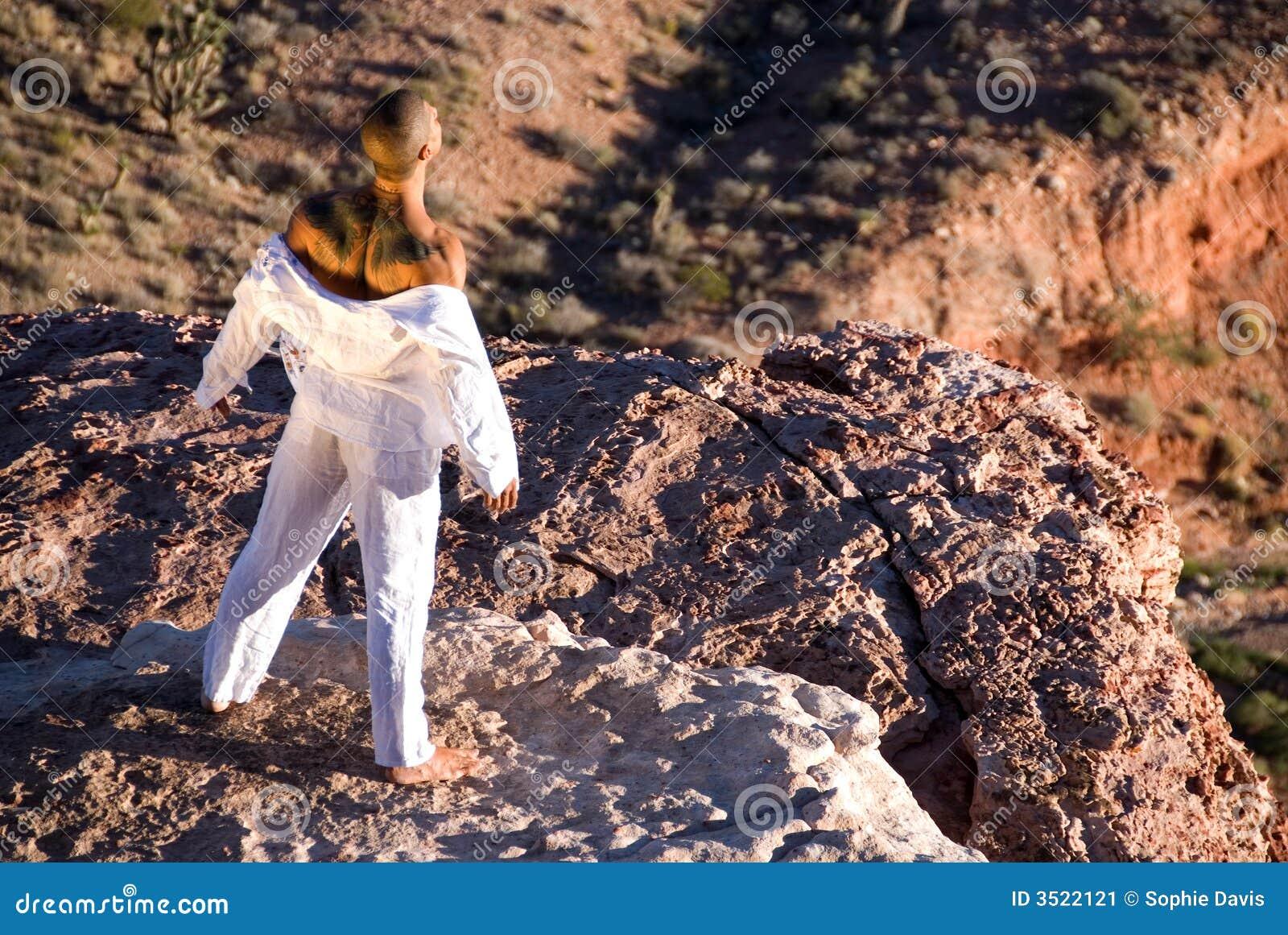 Homme restant sur la roche.