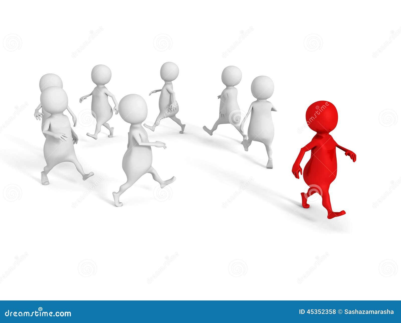 Homme rouge conceptuel de la personne 3d du groupe blanc