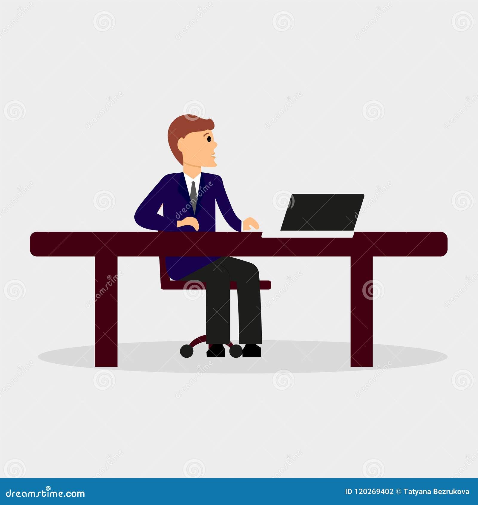 Homme s asseyant à l ordinateur Illustration de couleur de vecteur