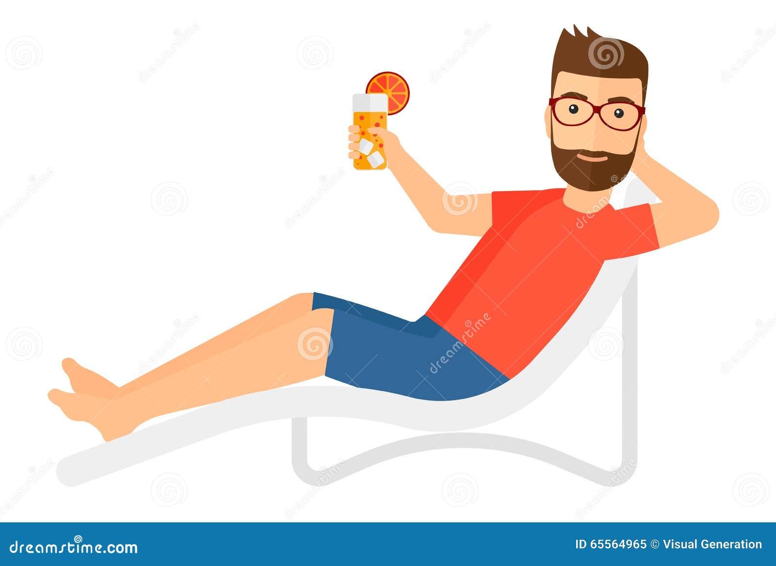 De Homme S'asseyant Dans Vecteur Illustration Longue La Chaise vOmNwn08