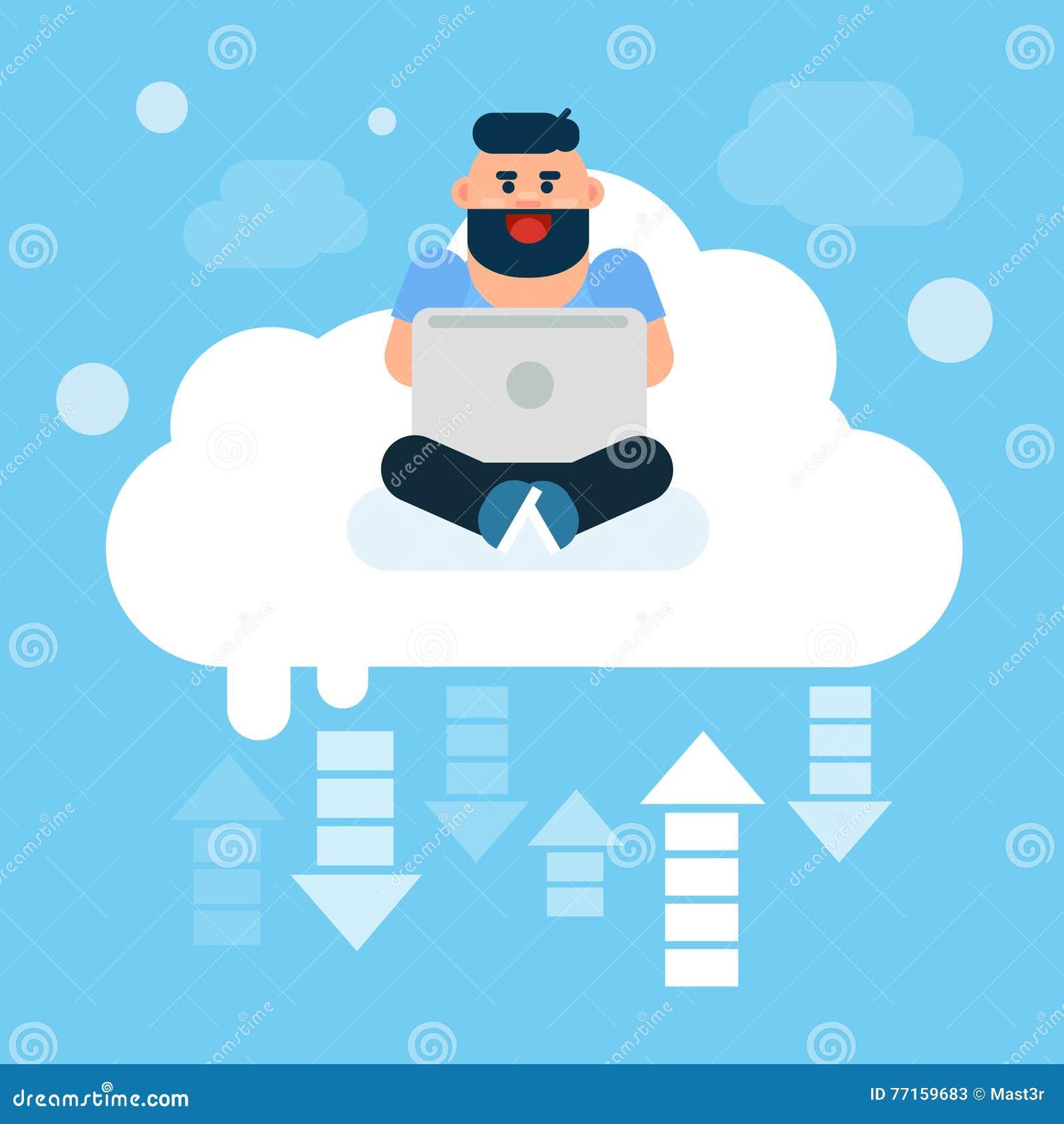 Homme s asseyant sur l ordinateur portable d utilisation de nuages, données en ligne d Internet de technologie de nuage