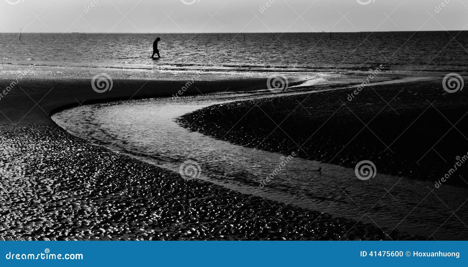 Homme seul marchant au bord de la mer