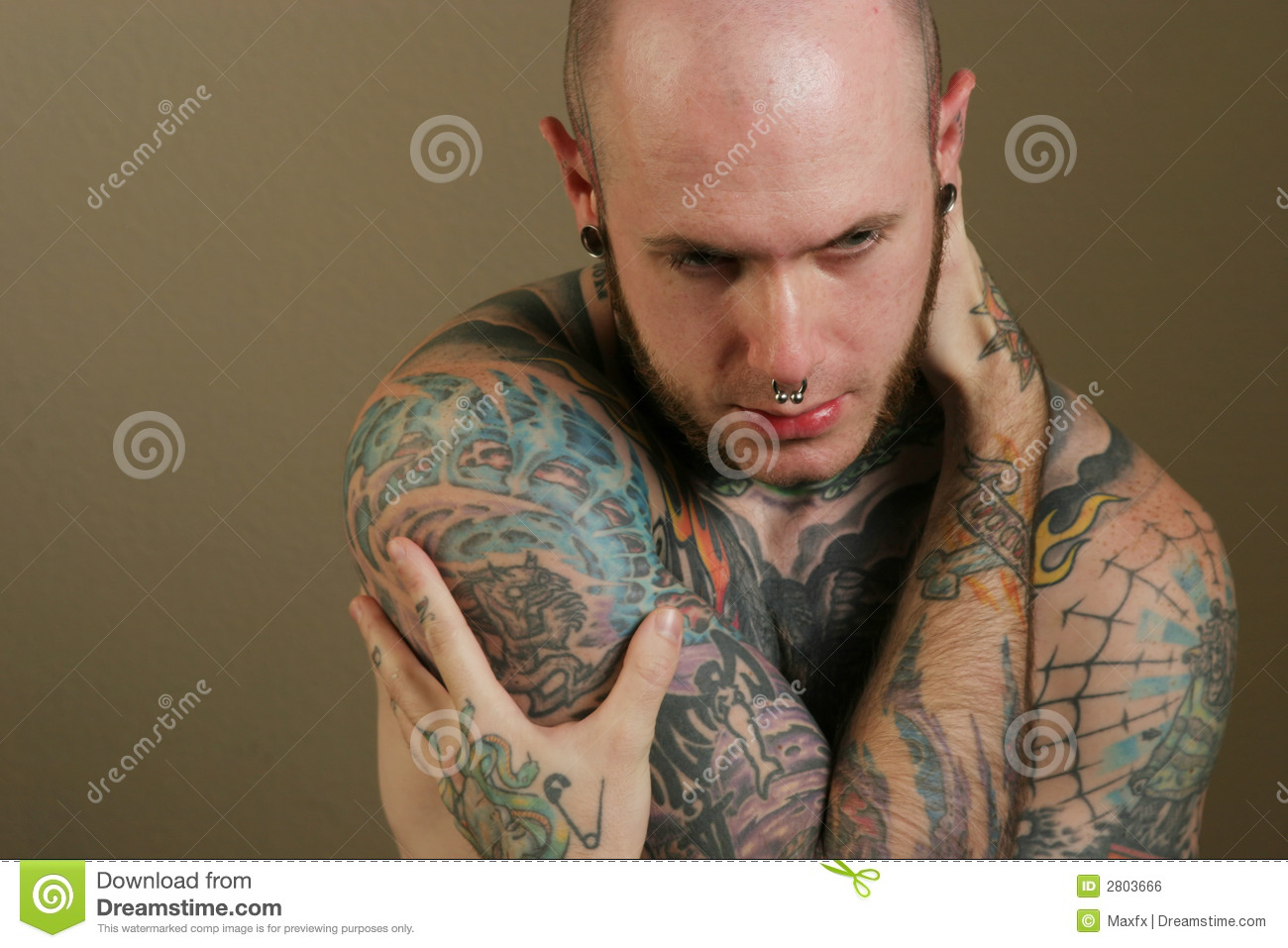 homme sexy de tatouage photo stock image du tatouage 2803666. Black Bedroom Furniture Sets. Home Design Ideas