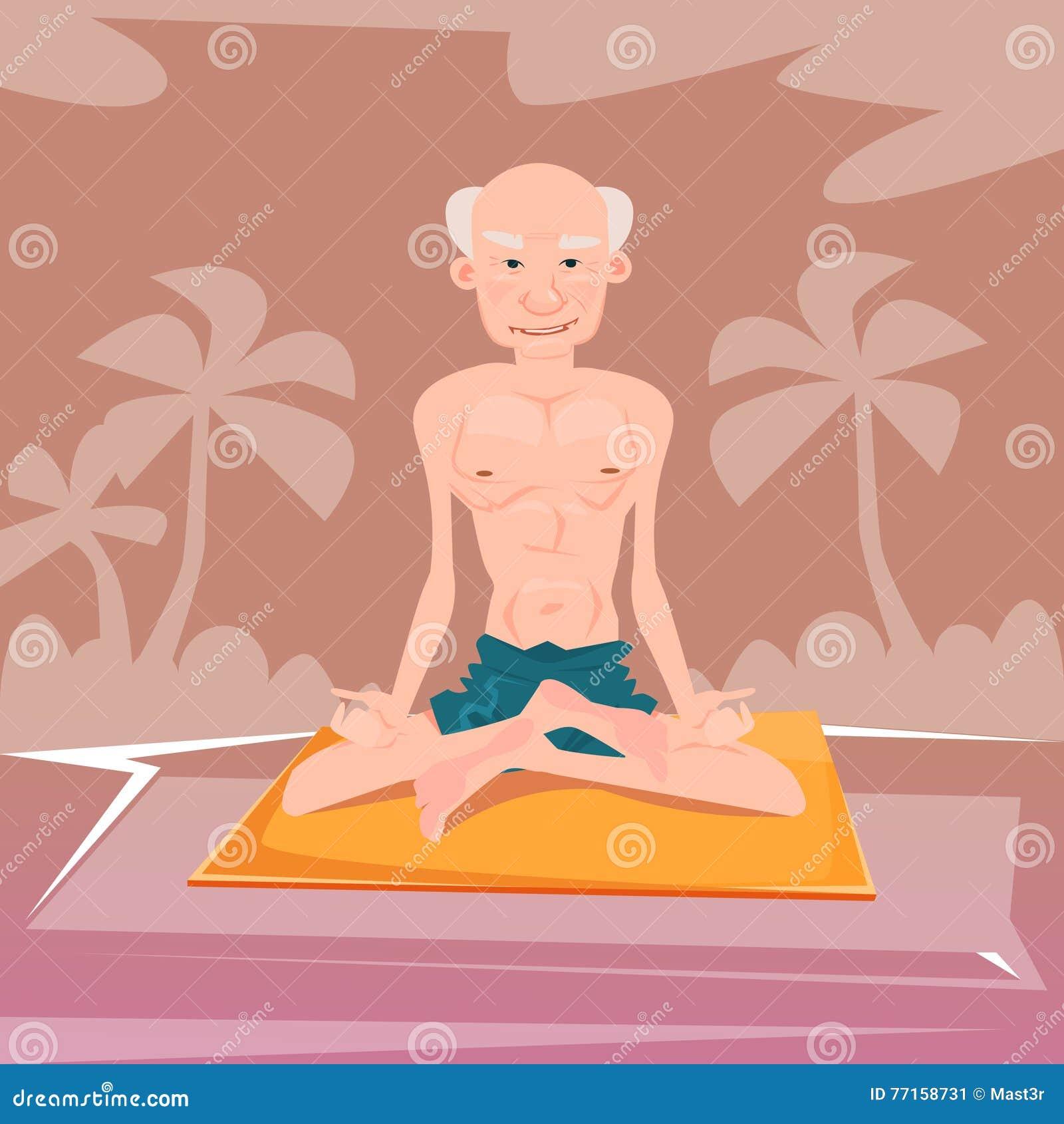 Homme supérieur s asseyant dans le yoga Lotus Position Relaxing Doing Exercises
