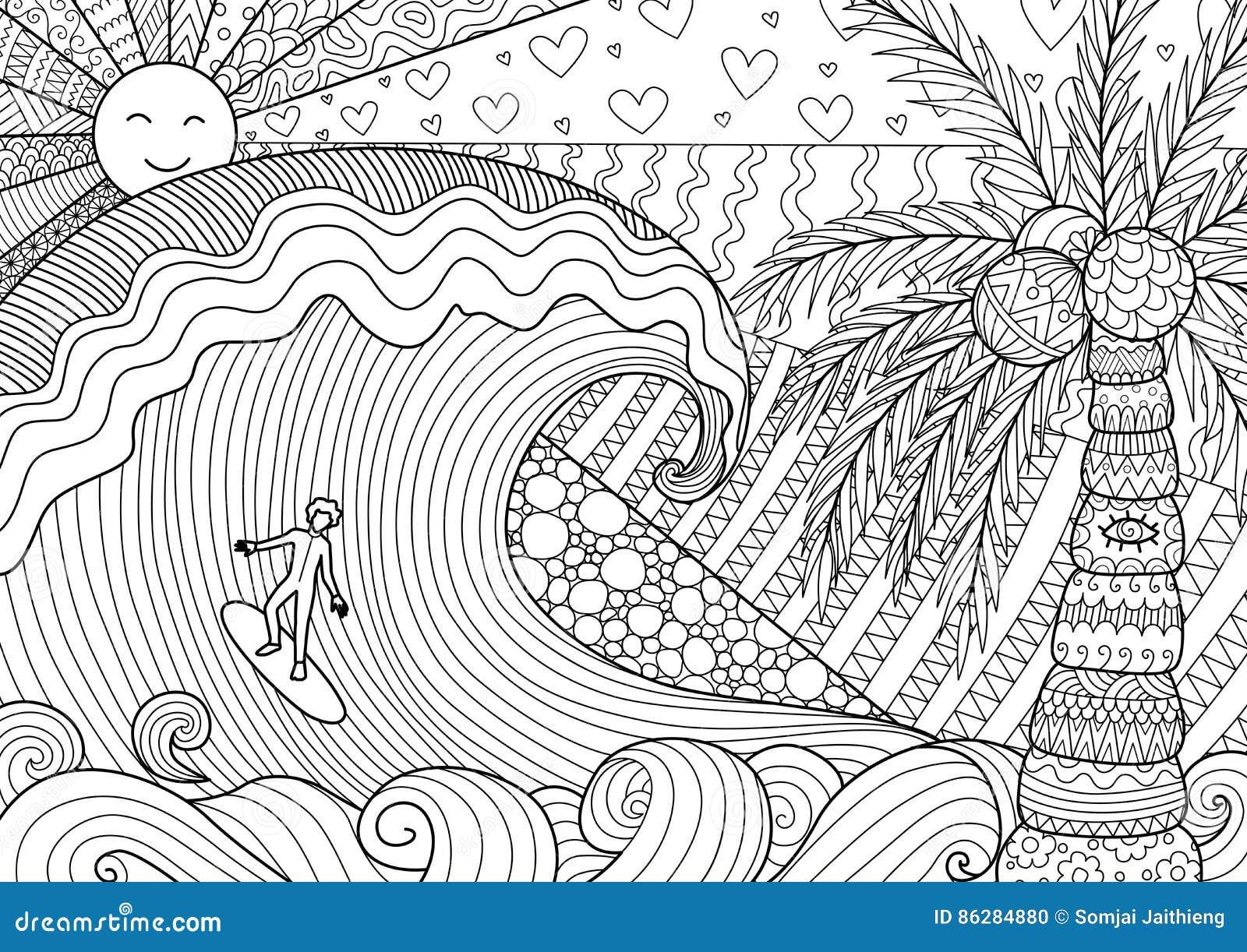 Coloriage Adulte Homme.Homme Surfant Dans Le Bel Ocean Illustration De Vecteur