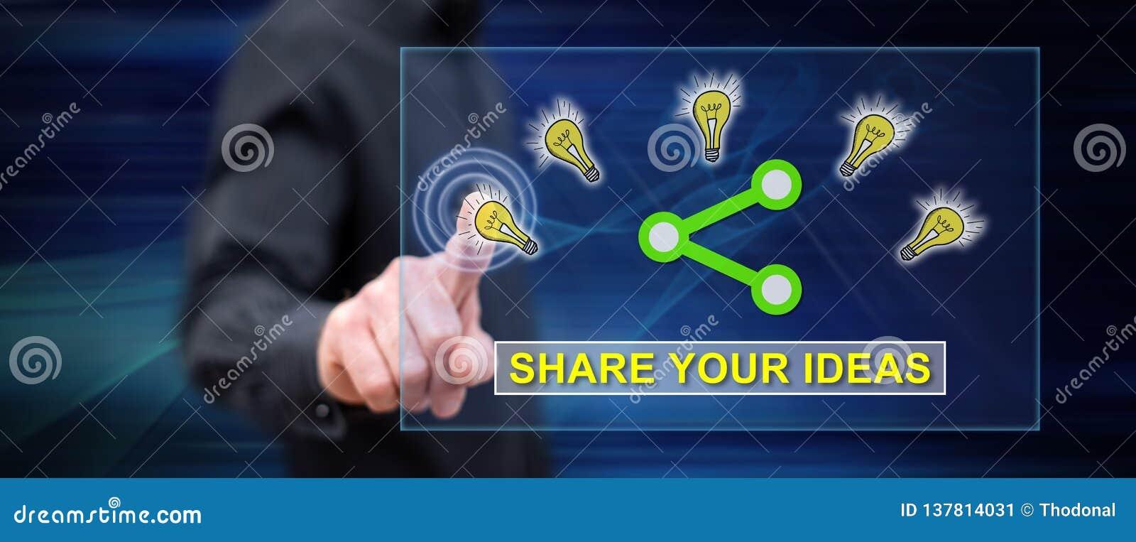 Homme touchant des idées partageant le concept