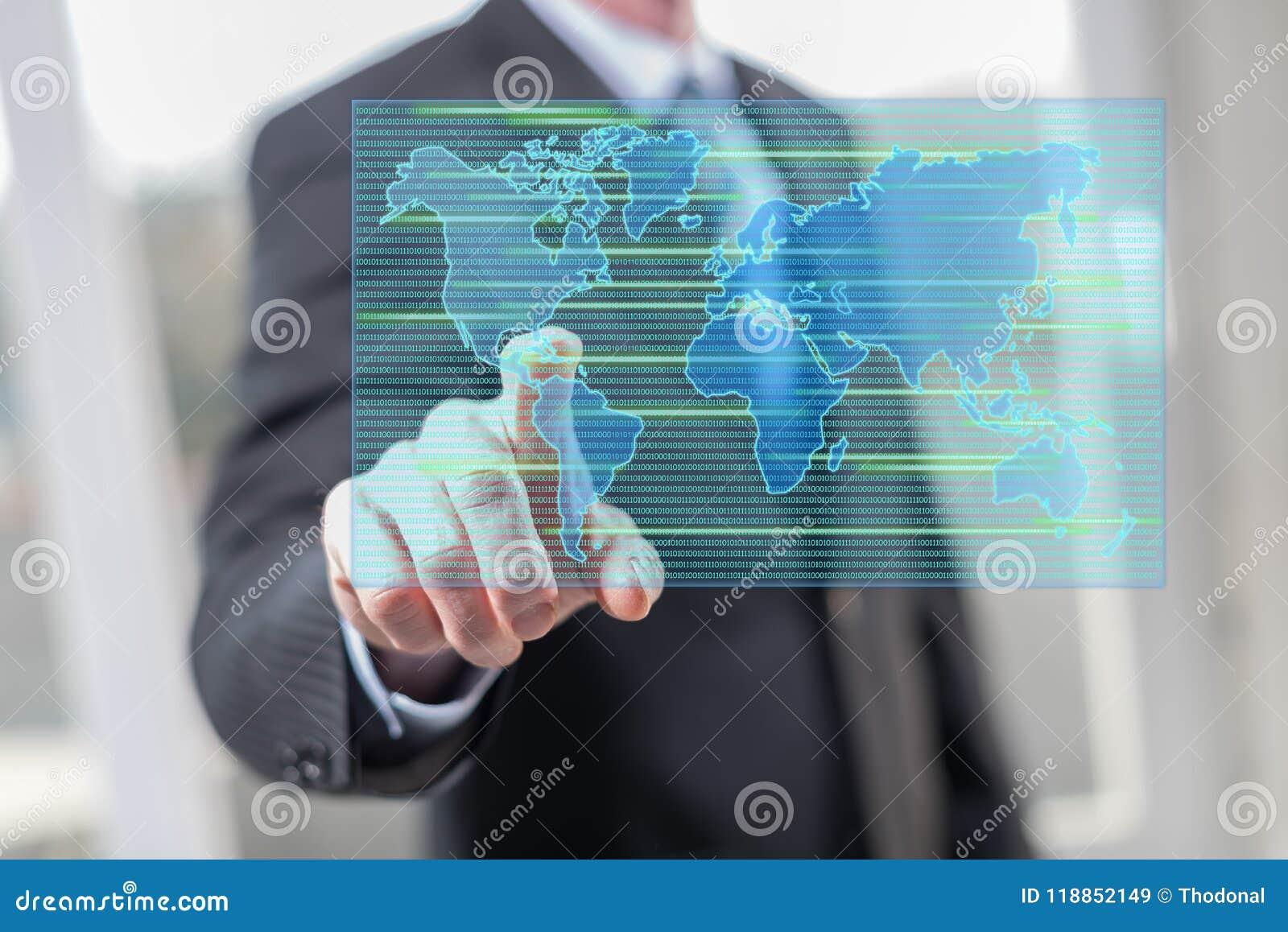 Homme touchant un concept de transfert des données