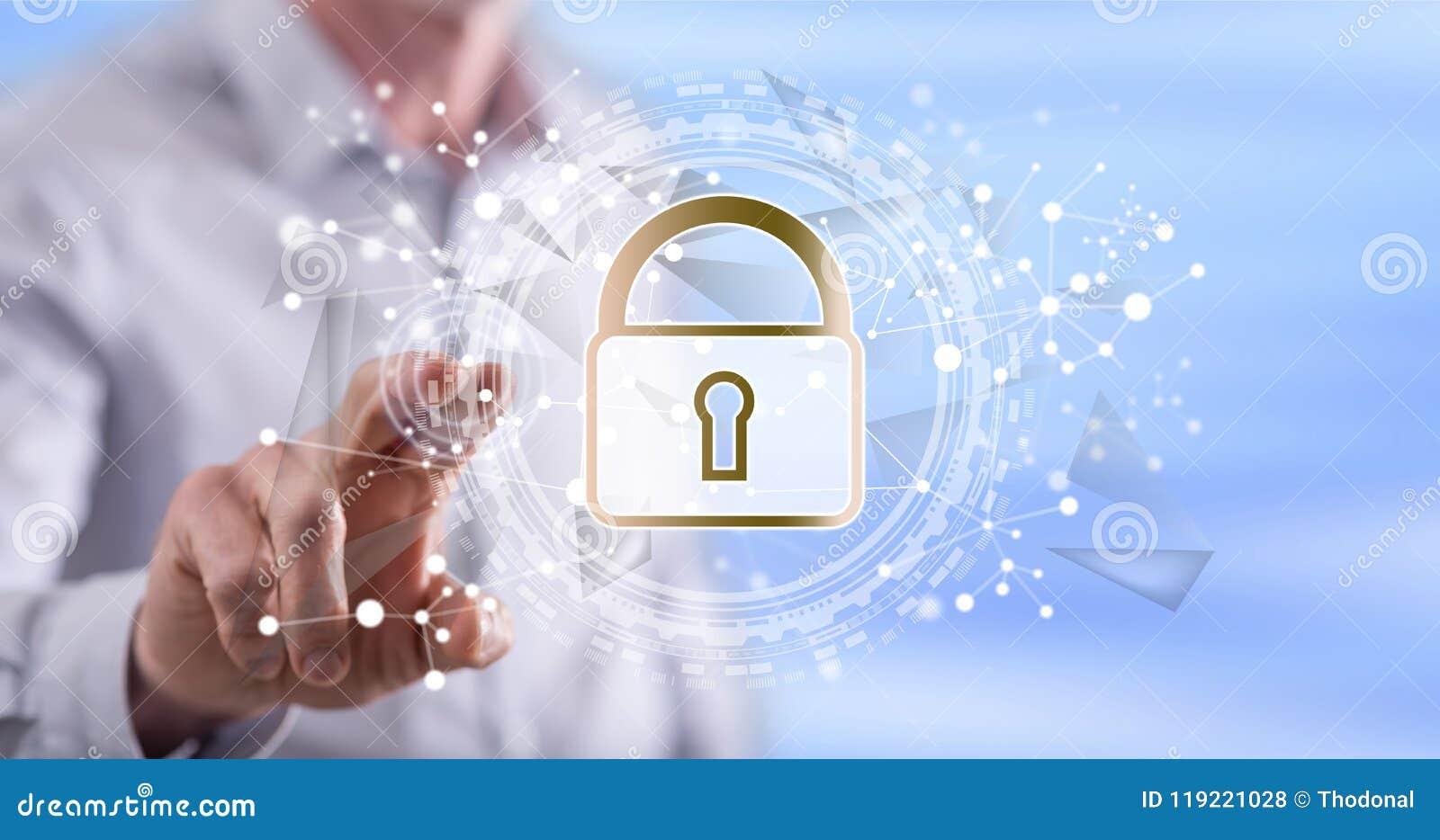 Homme touchant un concept numérique de sécurité