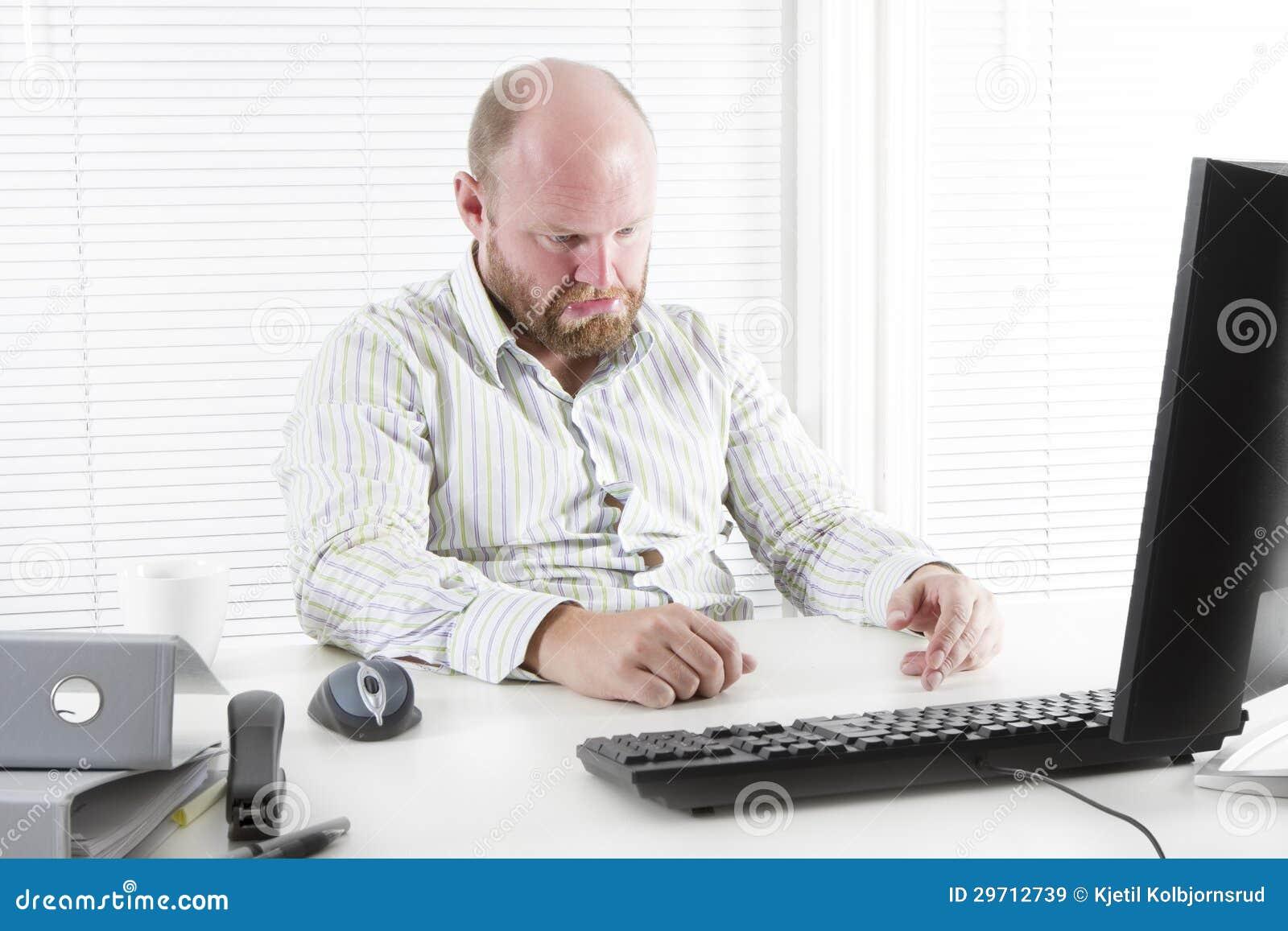 Homme triste au bureau images libres de droits image for Bureau homme