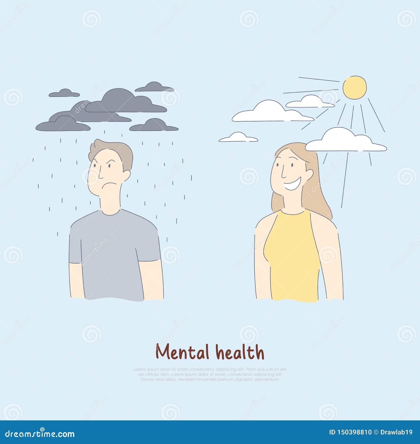 Homme triste sous les nuages pleuvants et la femme heureuse, psychologie, aide médicale, soins de santé, bannière mentale de cond