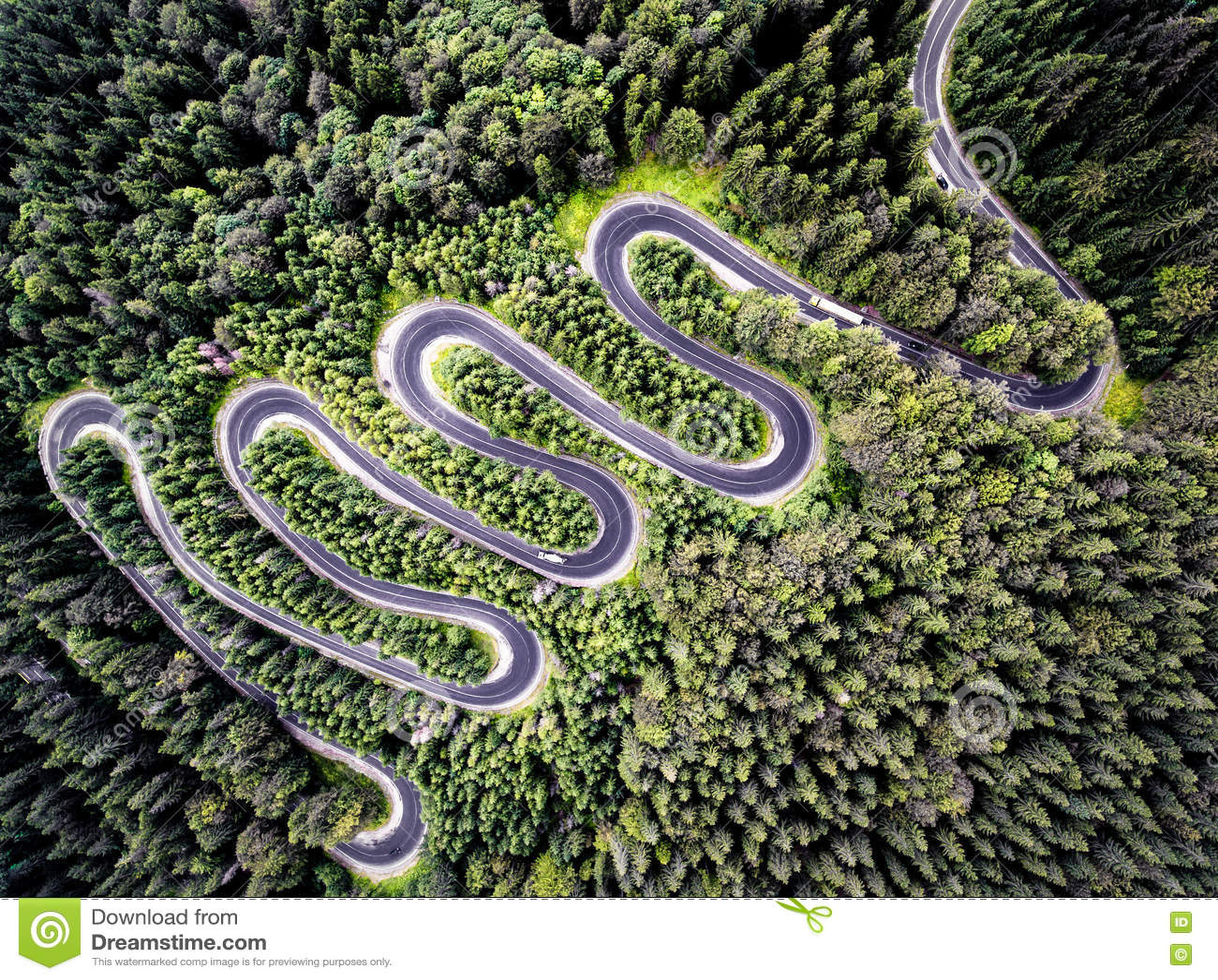 Hommelmening van een curvy weg in Roemenië
