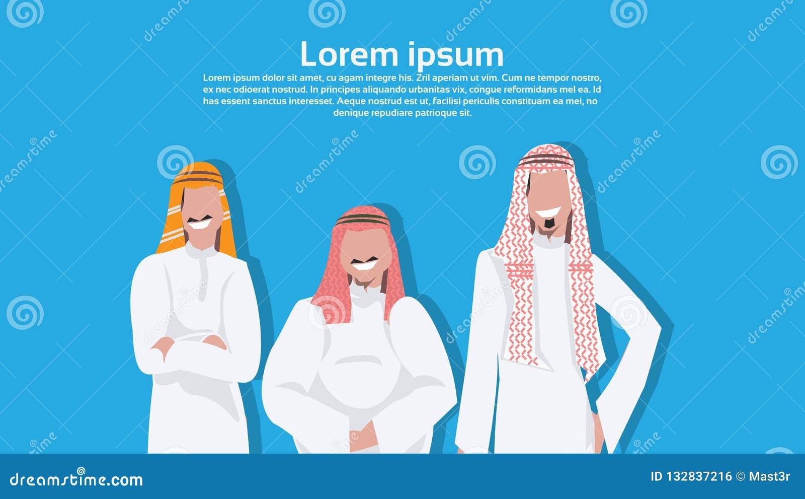 Hommes arabes d affaires tenant ensemble le type de corps différent portant la bande dessinée masculine d homme d affaires arabe