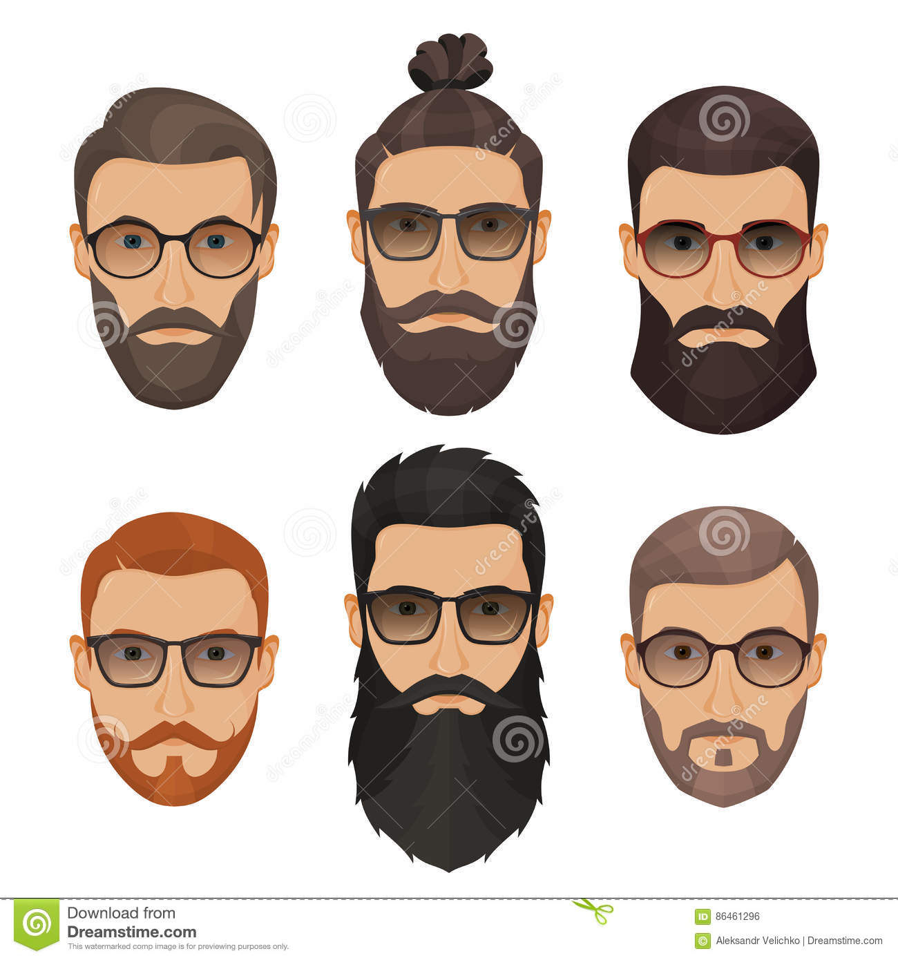 hommes barbus de hippies avec diff rentes barbes de moustaches de coiffures illustration de. Black Bedroom Furniture Sets. Home Design Ideas