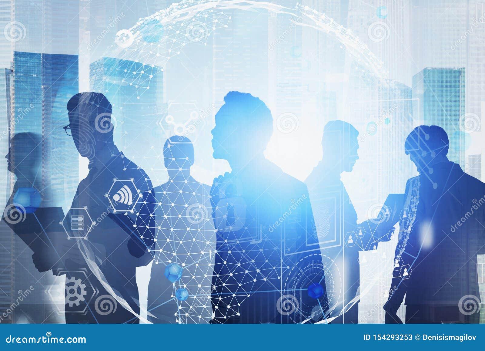 Hommes d affaires dans la ville, interface d affaires globales
