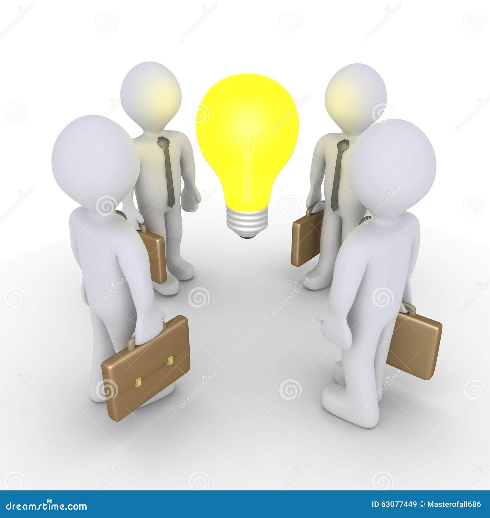 Download Hommes D'affaires Et Ampoule Illustration Stock - Illustration du rendez, people: 63077449