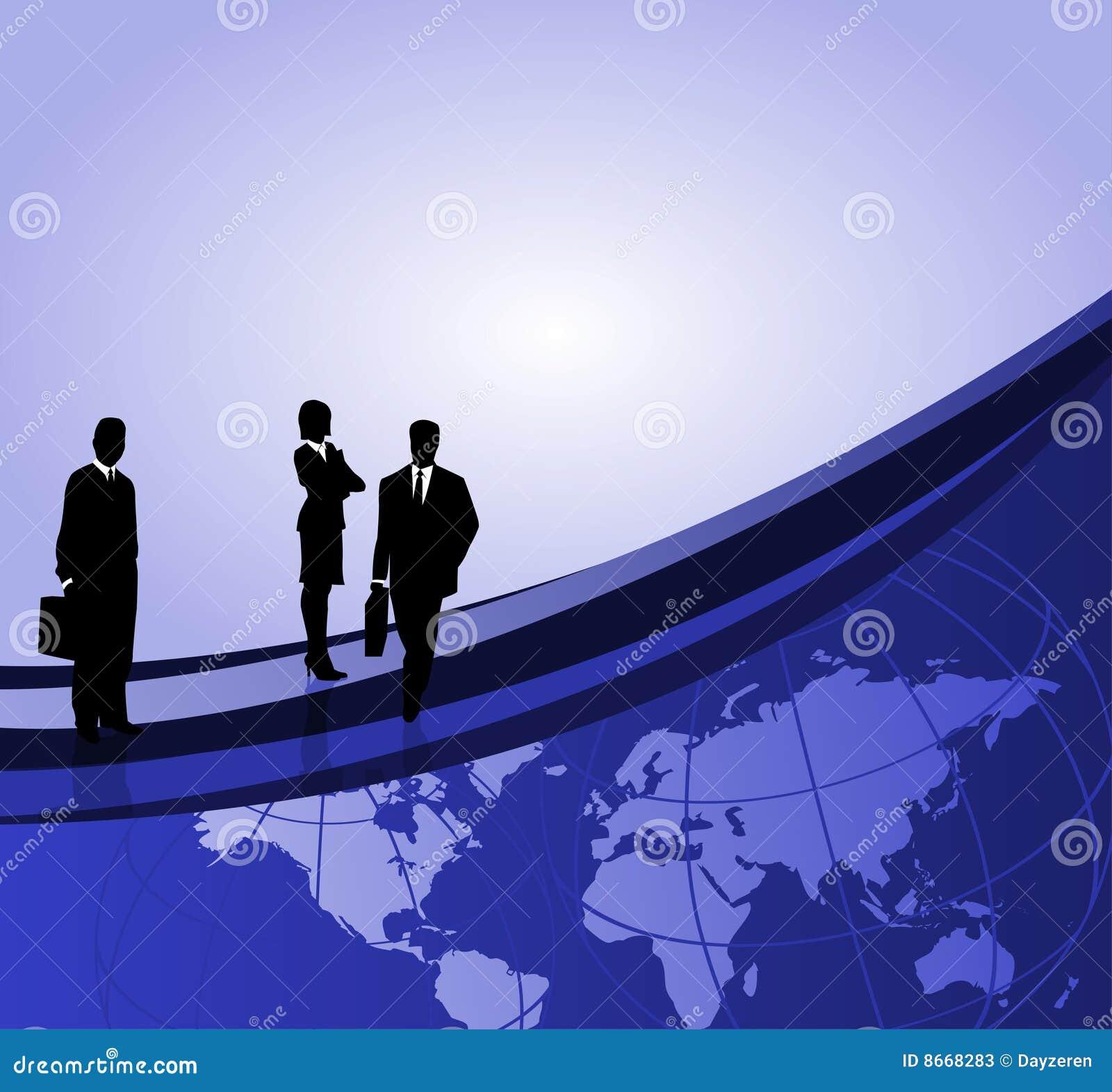 Hommes d affaires et carte du monde