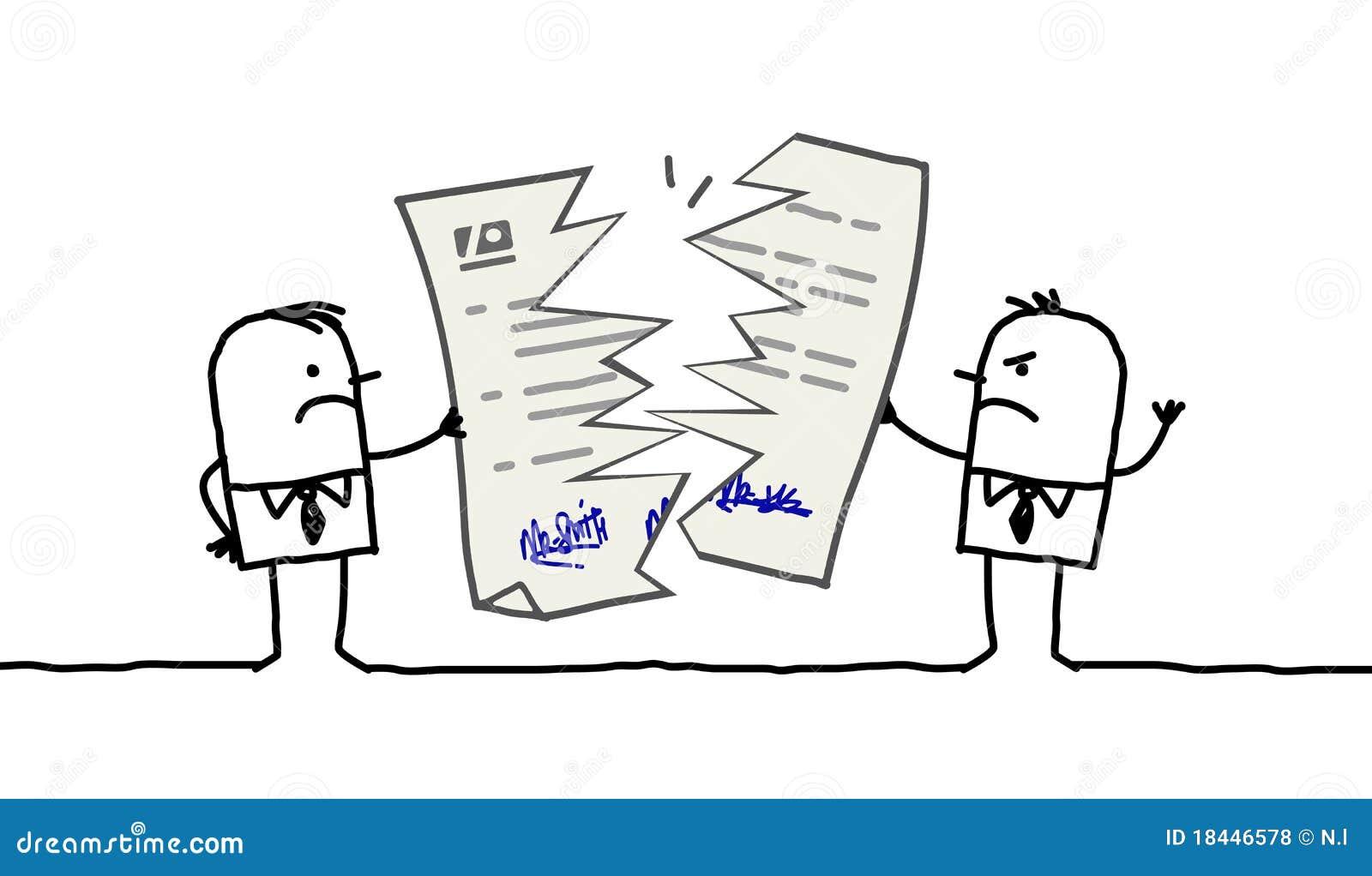 Hommes d affaires et contrat cassé
