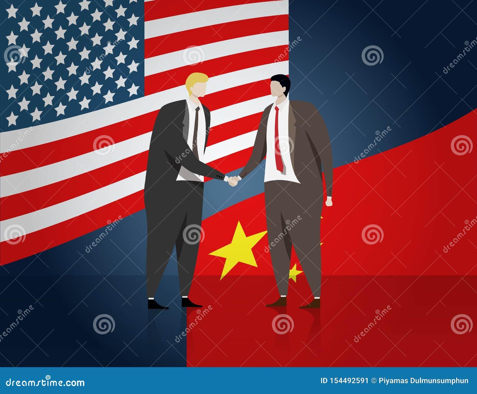 Hommes d affaires serrant la main pour pour faire une affaire des affaires, le drapeau des Etats-Unis et la Chine au fond Les Eta