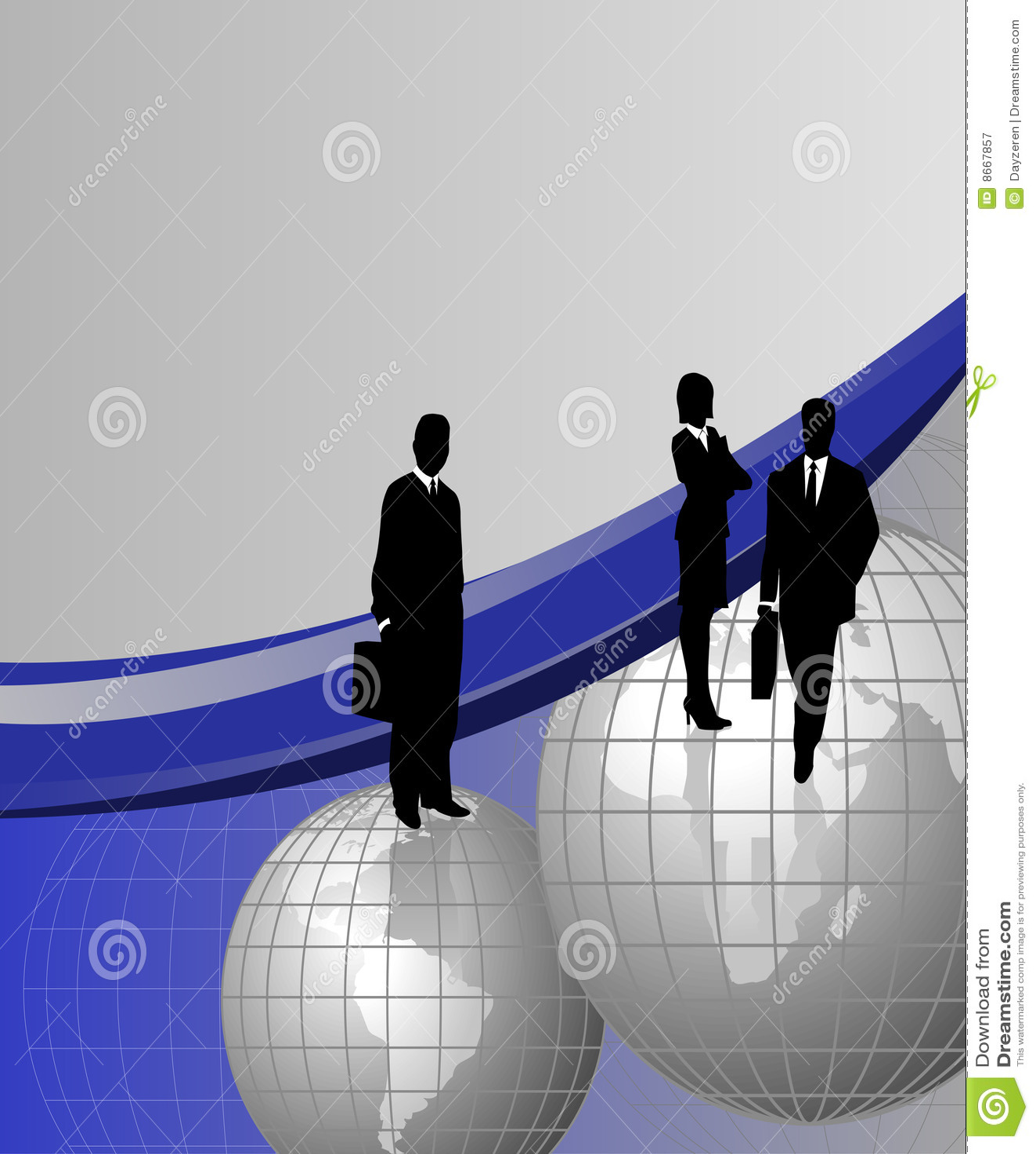 Hommes d affaires sur des globes